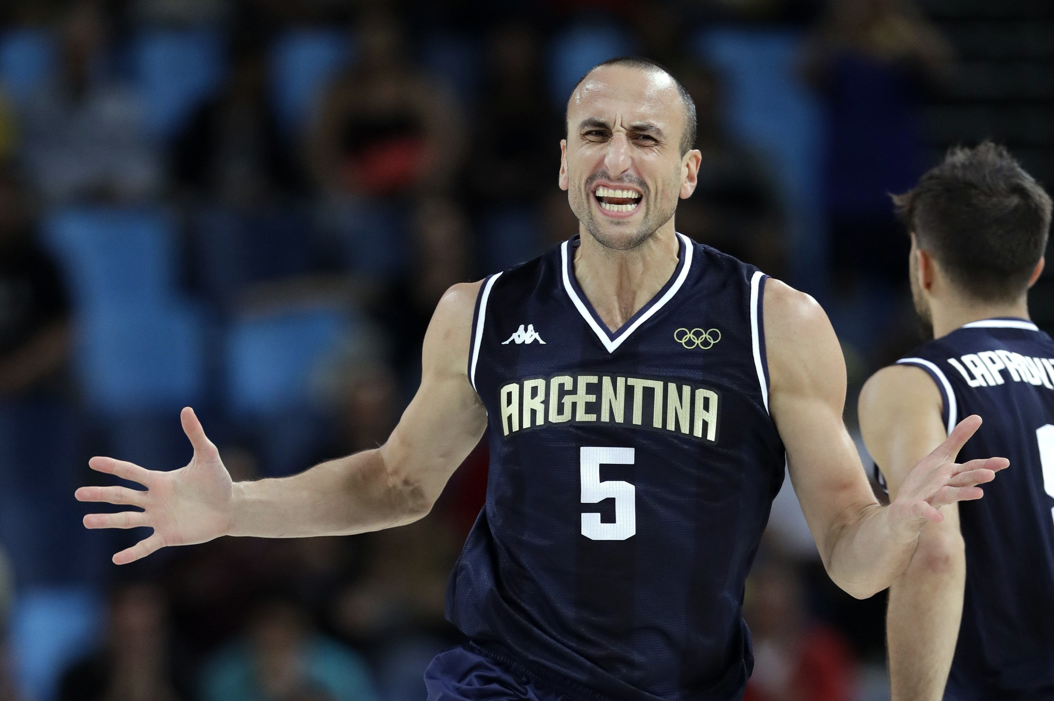 Argentina's Manu Ginobili (5) reacts after making a basket during a basketball game against Nigeria at the 2016 Summer Olympics in Rio de Janeiro, Brazil, Sunday, Aug. 7, 2016. (AP Photo/Charlie Neibergall)
