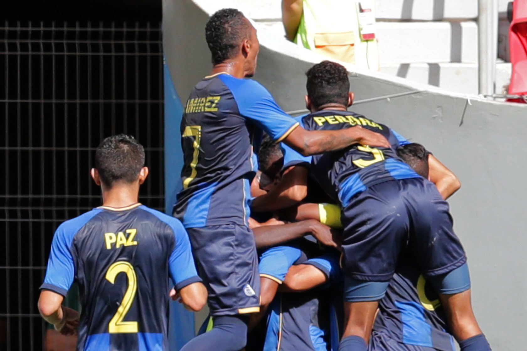 Honduras' celebrate after scoring the ir first goal during a Group D match of the men's Olympic football tournament between Argentina and Honduras at the National Stadium, in Brasilia, Brazil, Wednesday, Aug. 10, 2016. (AP Photo/Eraldo Peres)