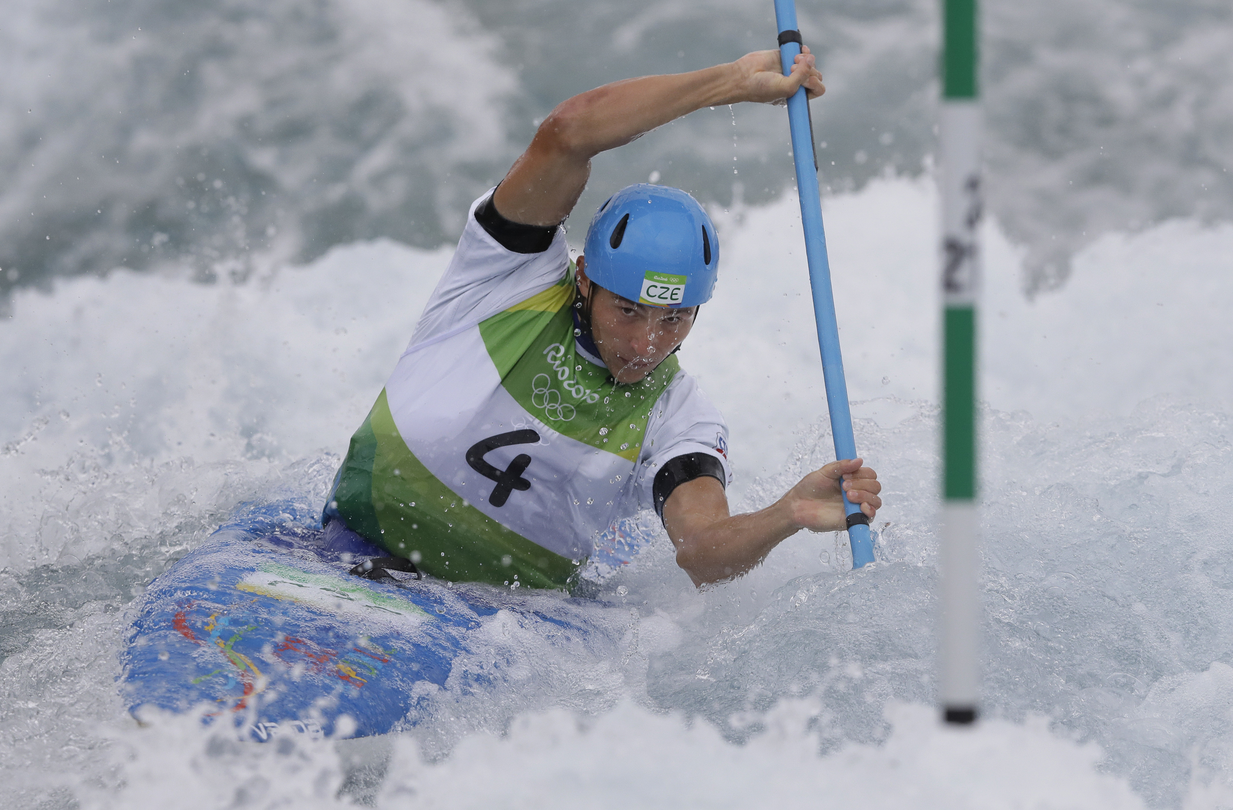 Jiri Prskavec of the Czech Republic competes during the kayak K1 men's semifinal of the Canoe Slalom at the 2016 Summer Olympics in Rio de Janeiro, Brazil, Wednesday, Aug. 10, 2016. (AP Photo/Kirsty Wigglesworth)