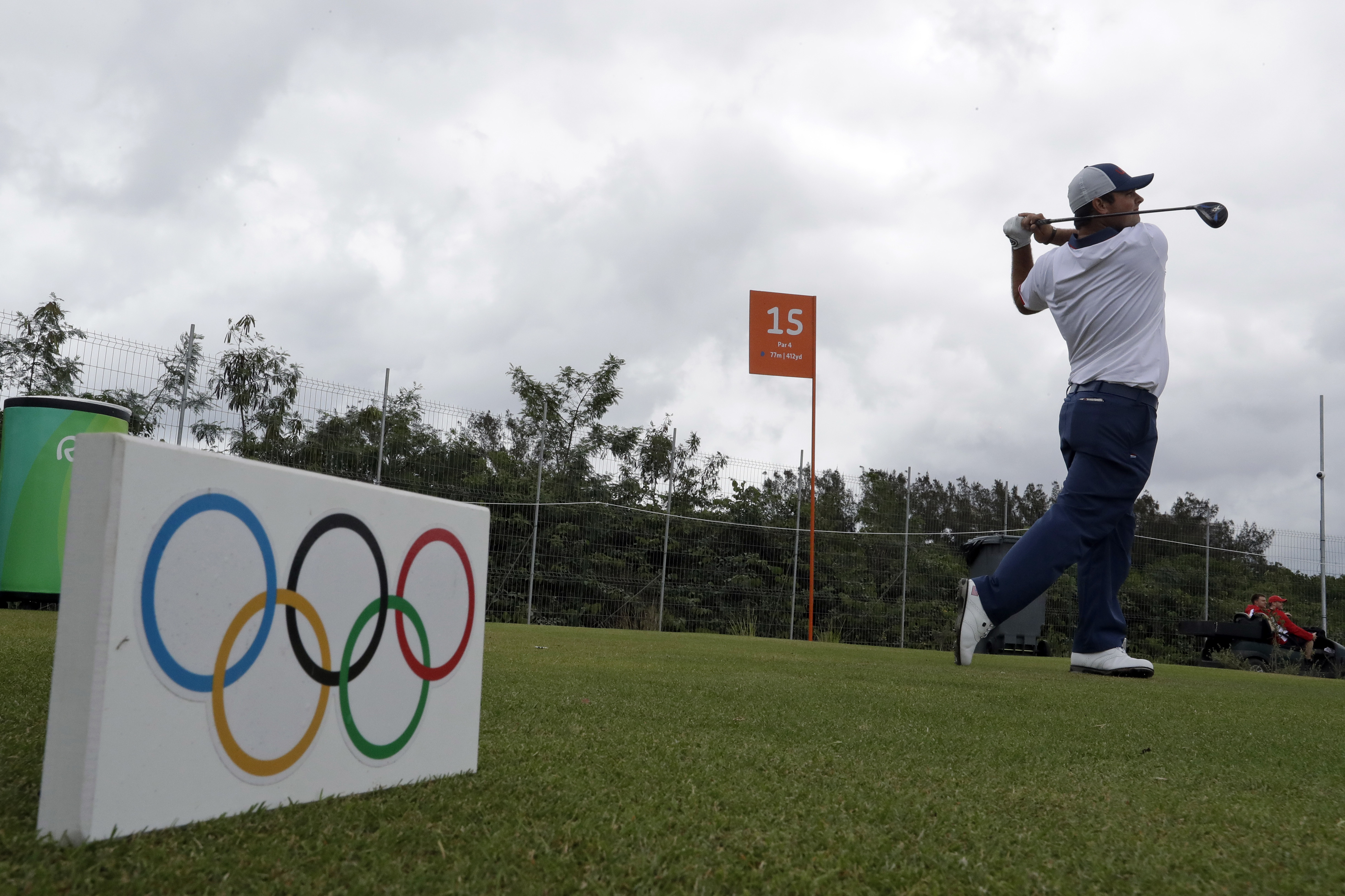 Patrick Reed, of the United States, tees off on the 15th hole during a practice round for men's golf event at the 2016 Summer Olympics in Rio de Janeiro, Brazil, Wednesday, Aug. 10, 2016. (AP Photo/Chris Carlson)