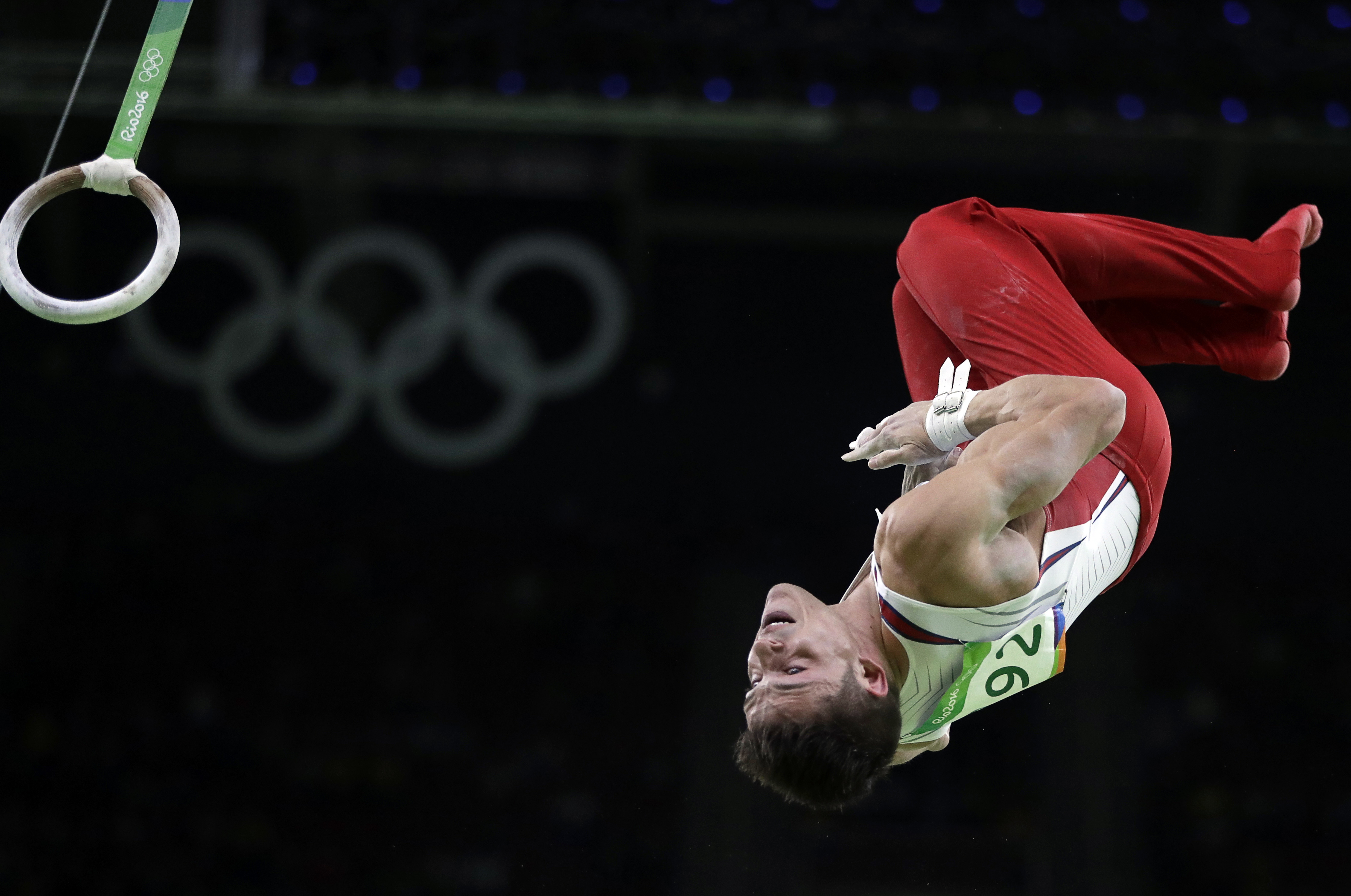 United States' Chris Brooks performs on the rings during the artistic gymnastics men's individual all-around final at the 2016 Summer Olympics in Rio de Janeiro, Brazil, Wednesday, Aug. 10, 2016. (AP Photo/Julio Cortez)