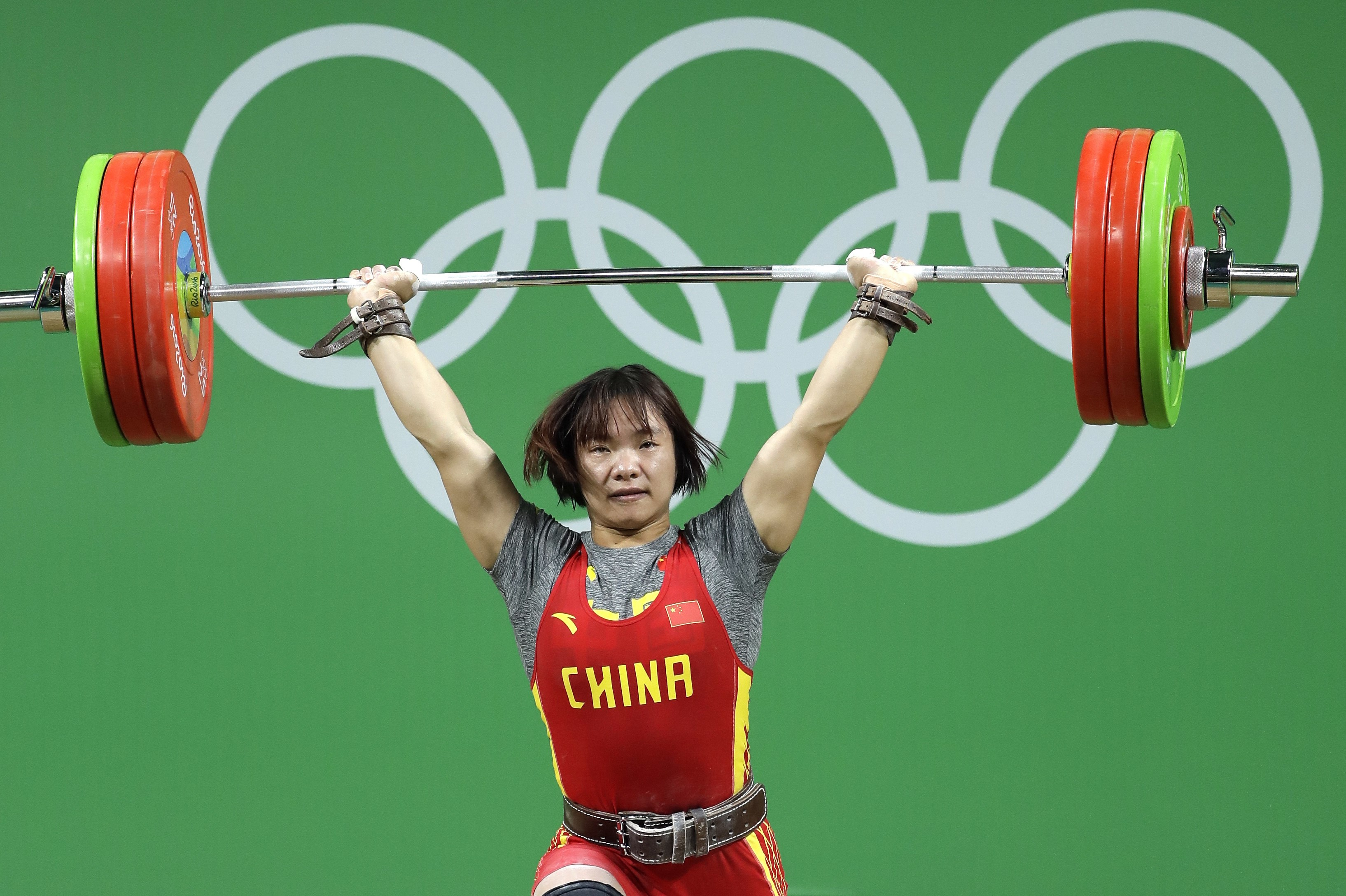 Xiang Yanmei, of China, competes in the women's 69kg weightlifting competition at the 2016 Summer Olympics in Rio de Janeiro, Brazil, Wednesday, Aug. 10, 2016. (AP Photo/Mike Groll)