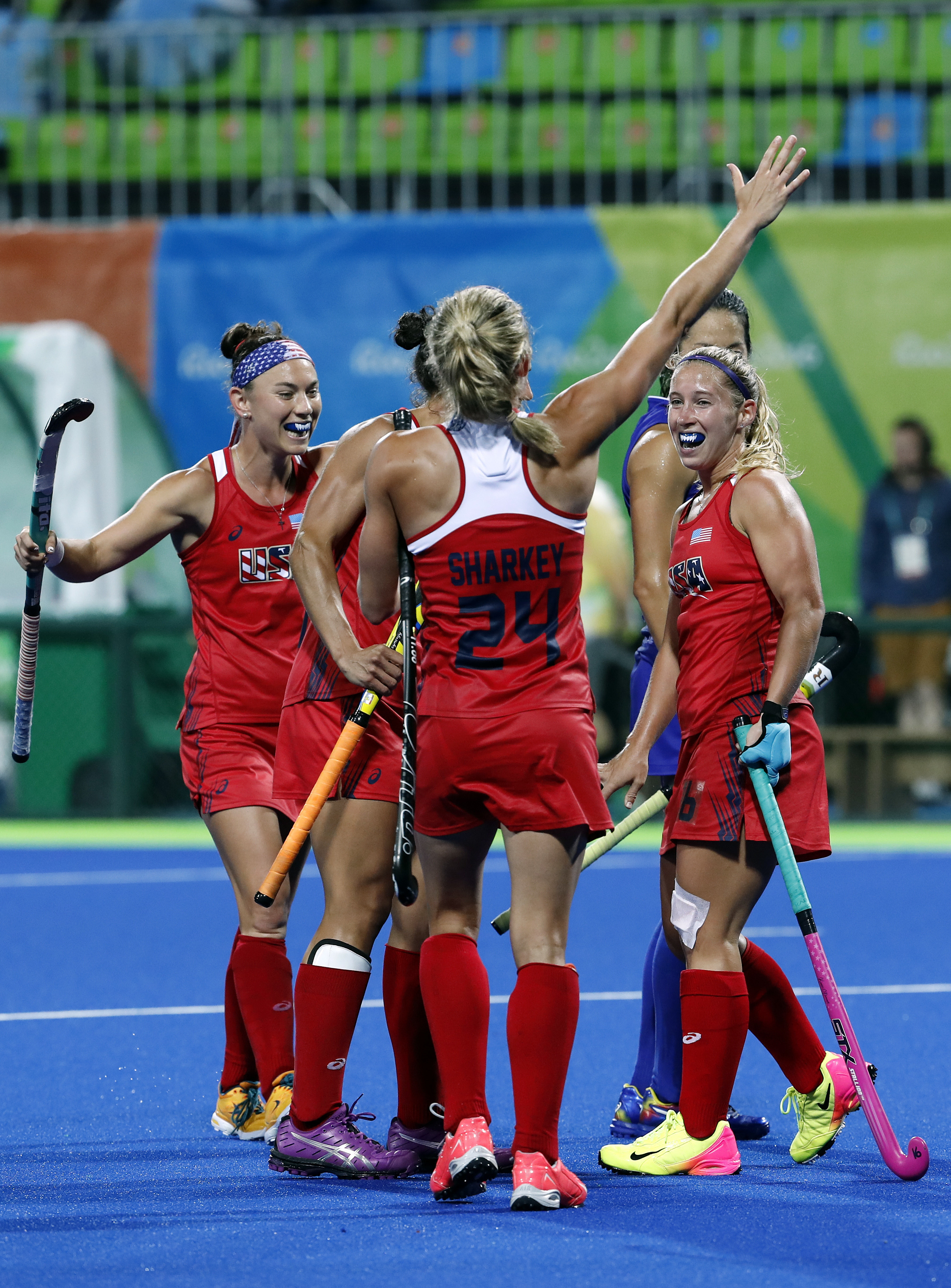 Players of United States celebrates after scoring against Japan during a women's field hockey match at the 2016 Summer Olympics in Rio de Janeiro, Brazil, Wednesday, Aug. 10, 2016. (AP Photo/Dario Lopez-Mills)