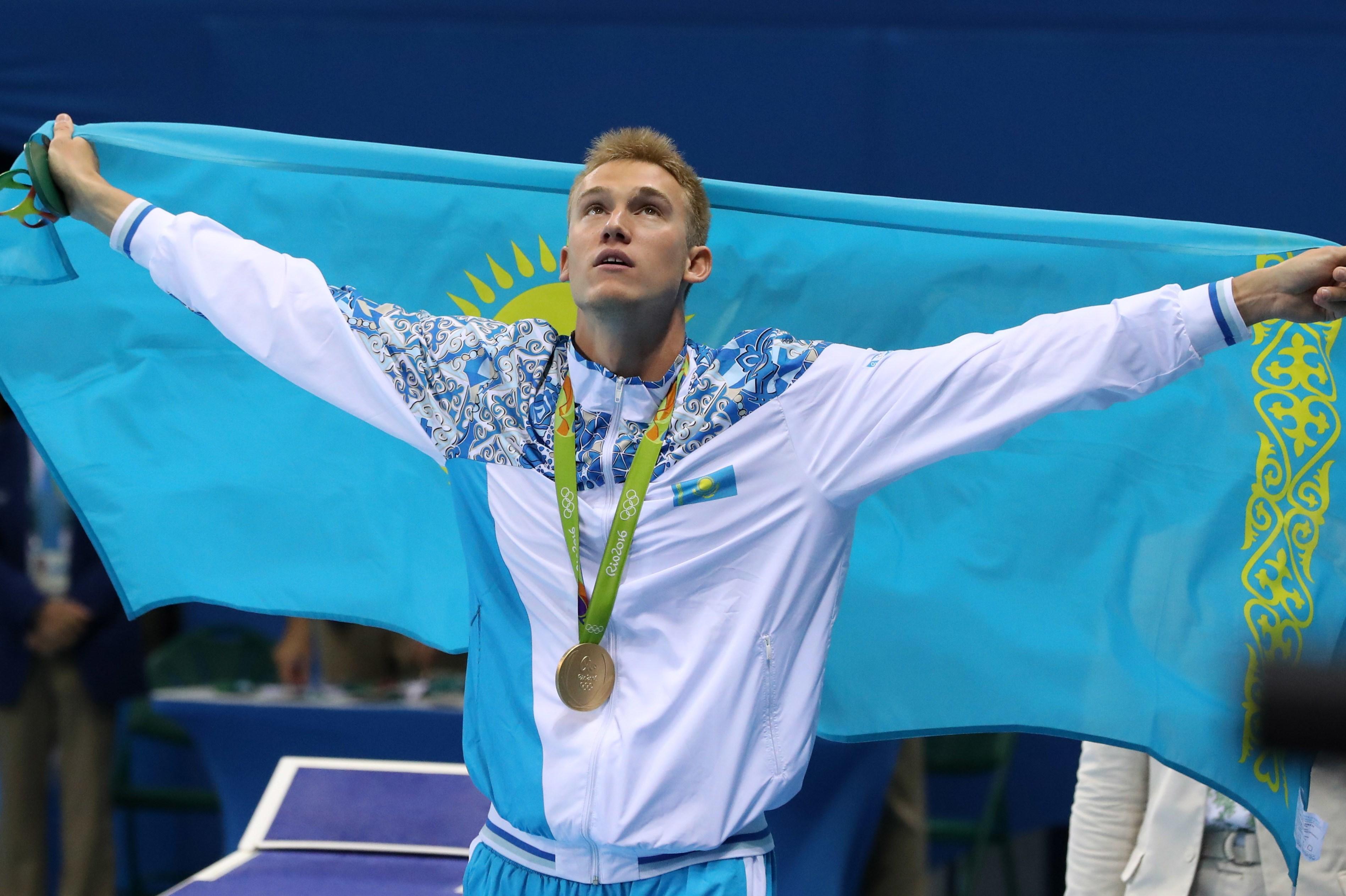 Kazakhstan's Dmitriy Balandin celebrates winning the gold medal in the men's 200-meter breaststroke during the swimming competitions at the 2016 Summer Olympics, Wednesday, Aug. 10, 2016, in Rio de Janeiro, Brazil. (AP Photo/Lee Jin-man)