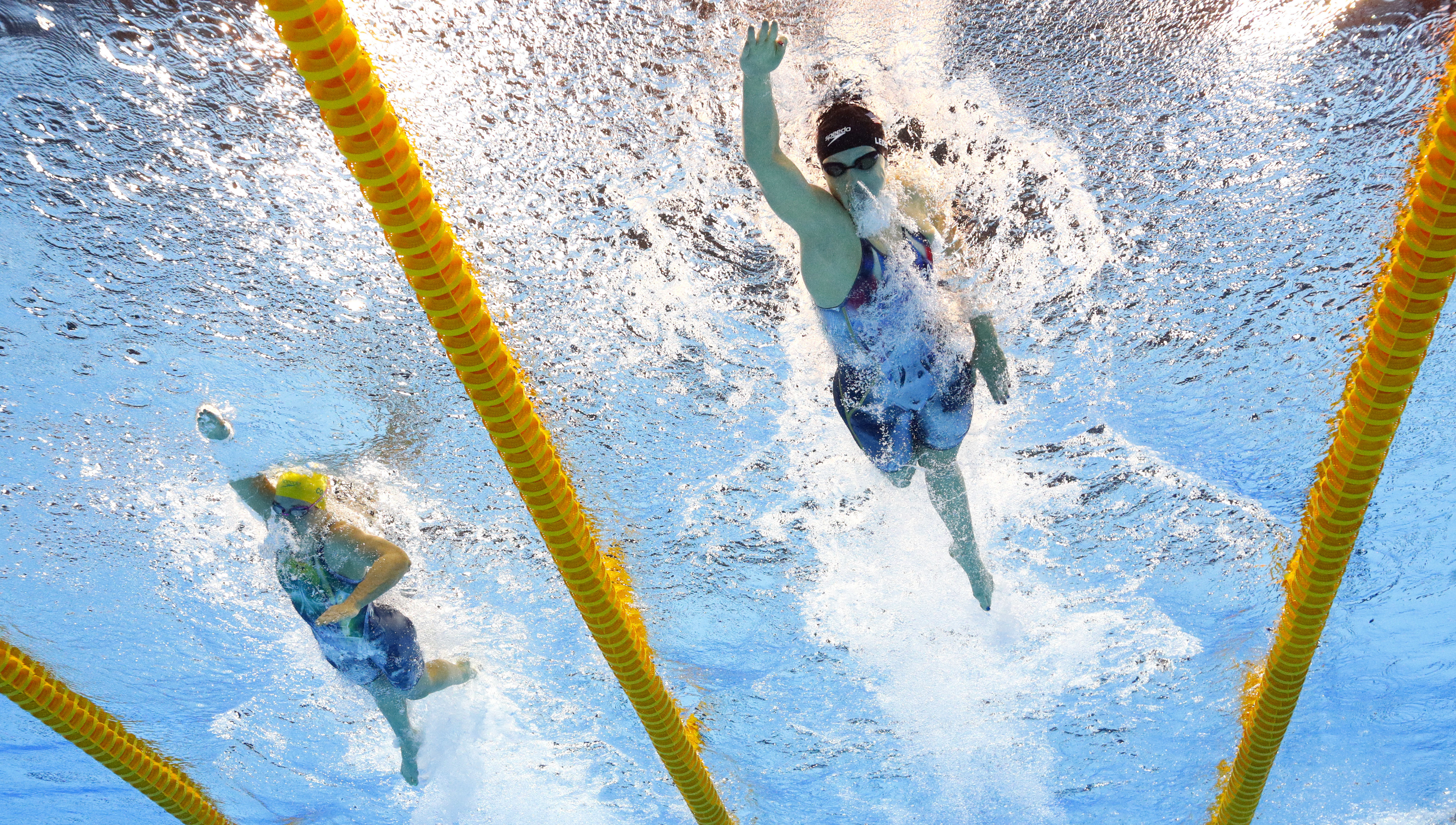 United States' Katie Ledecky, right, swims the last leg in the final of the women's 4x200-meter freestyle relay during the swimming competitions at the 2016 Summer Olympics in Rio de Janeiro, Brazil, Thursday, Aug. 11, 2016. (AP Photo/David J. Phillip)