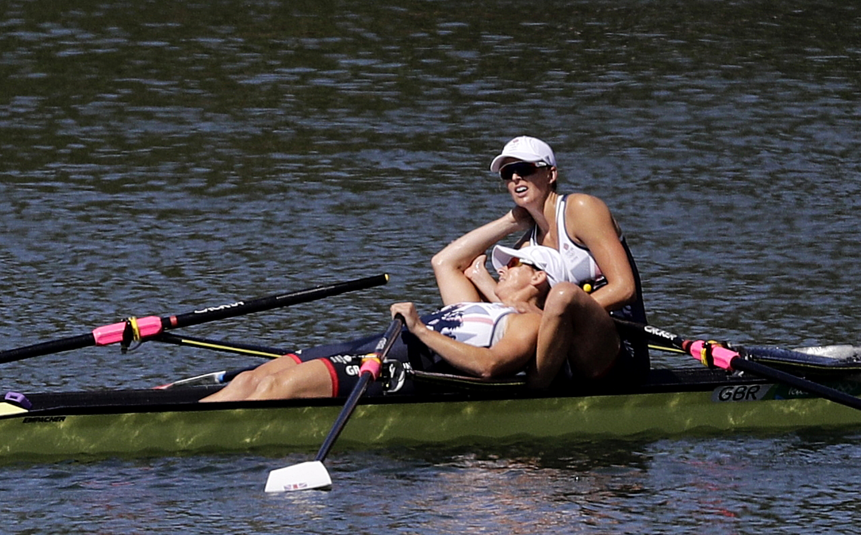 Victoria Thornley and Katherine Grainger, of Britain, react to winning silver in the women's rowing double sculls final during the 2016 Summer Olympics in Rio de Janeiro, Brazil, Thursday, Aug. 11, 2016. (AP Photo/Matt York)