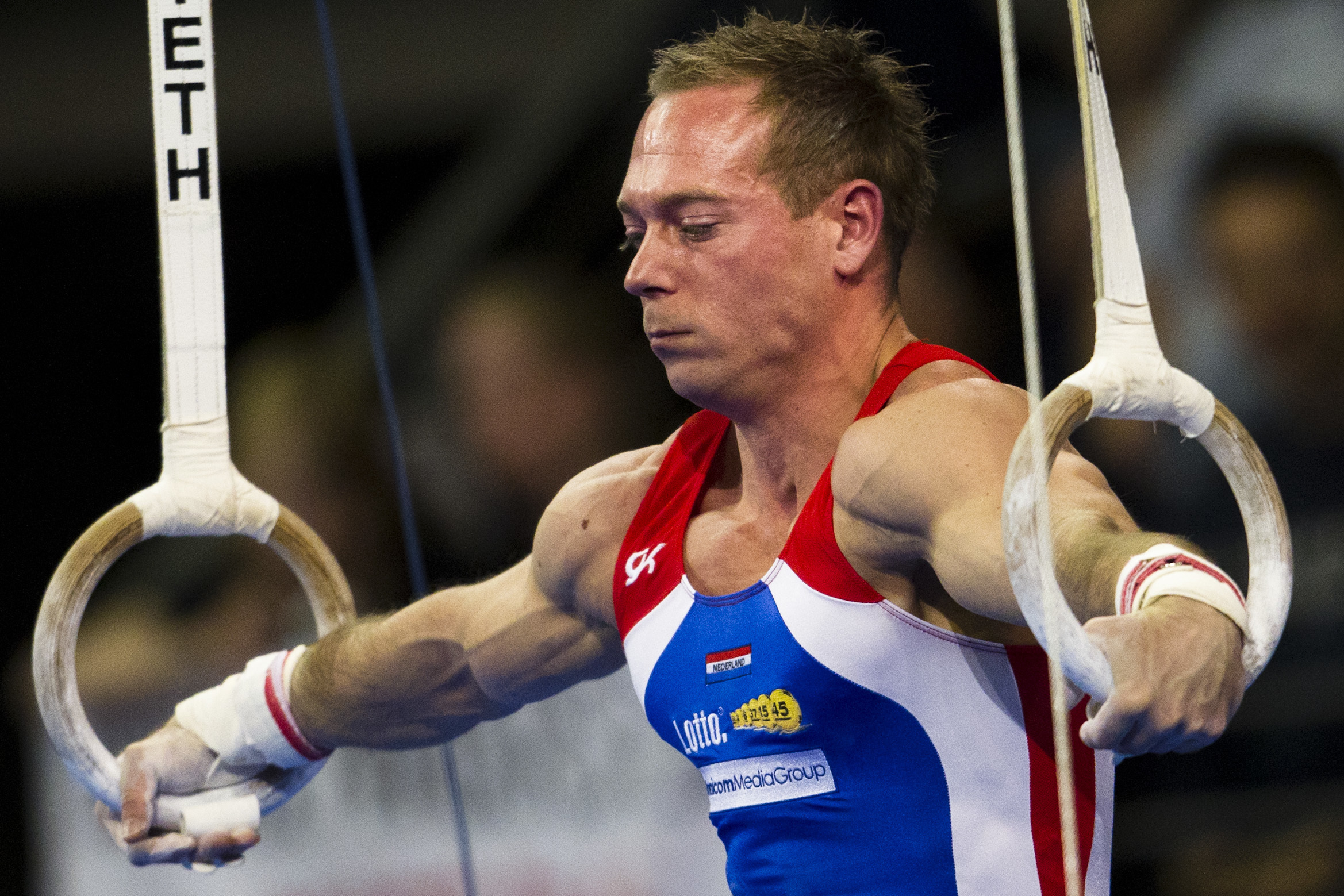 FILE - In this April 9, 2011 file photo, Netherlands' Yuri van Gelder competes the men's rings final at the Artistic Gymnastics European Championships in Berlin, Germany. Yuri van Gelder lost his legal battle Friday, Aug. 12, 2016 to rejoin the Dutch Olym