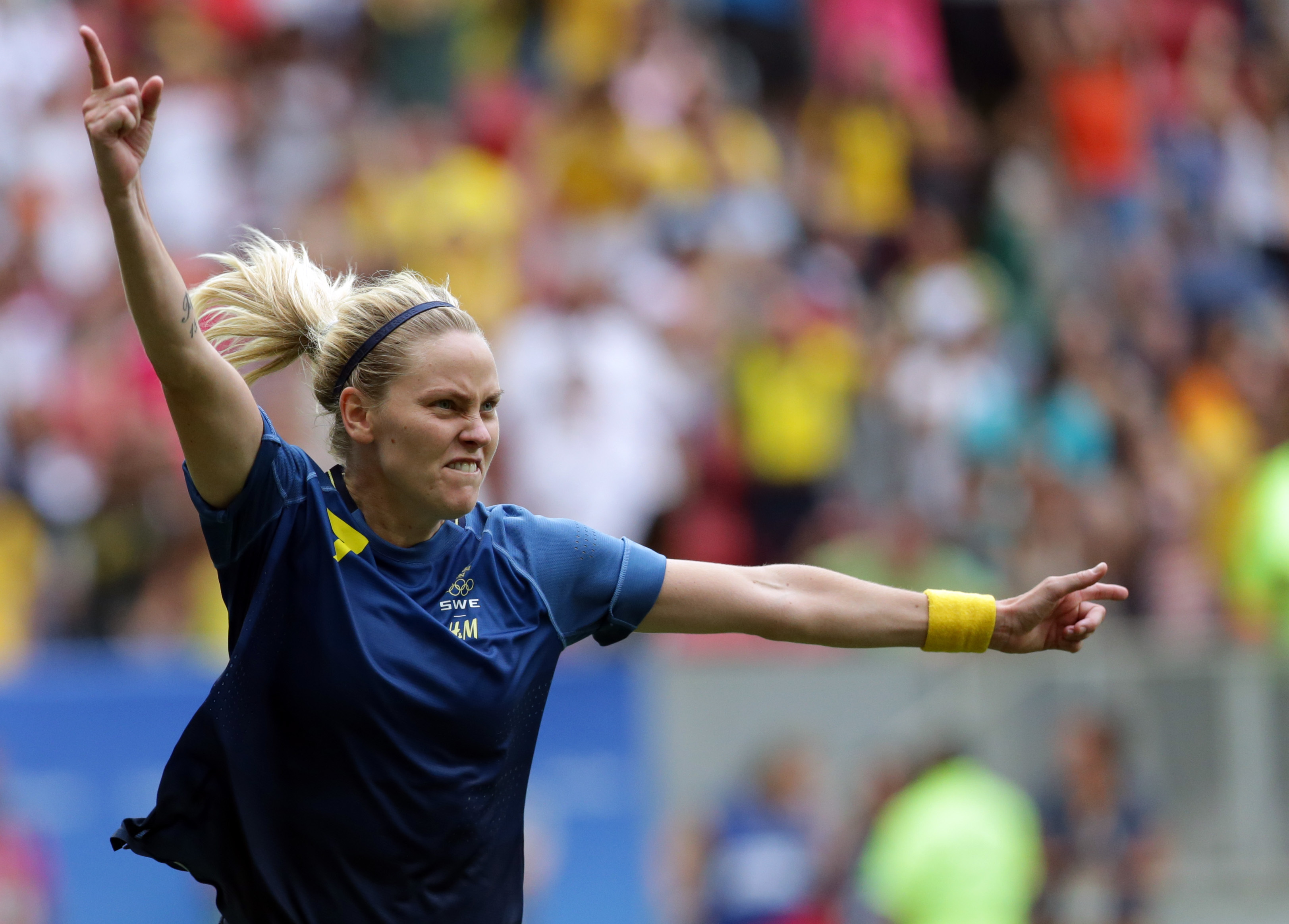 Sweden's Lisa Dahlkvist celebrates after scoring in the penalty kicks during a quarter-final match of the women's Olympic football tournament between the United States and Sweden in Brasilia Friday Aug. 12, 2016. The United States was eliminated by Sweden