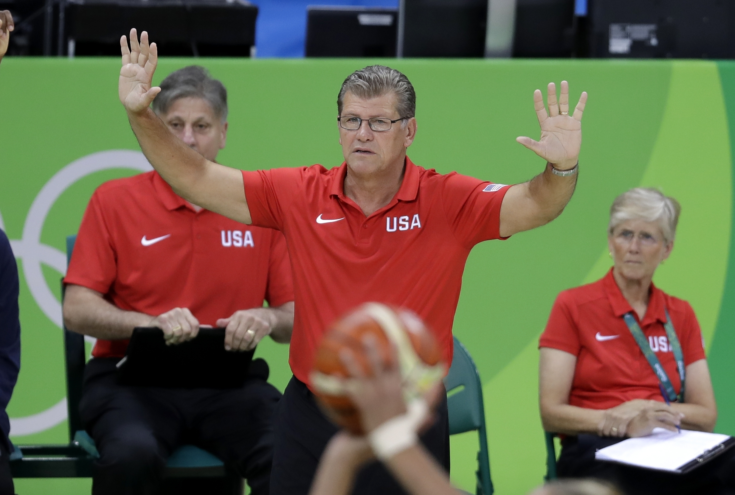 United States head coach Geno Auriemma signals from the bench during the second half of a women's basketball game against Canada at the Youth Center at the 2016 Summer Olympics in Rio de Janeiro, Brazil, Friday, Aug. 12, 2016. The United States defeated C