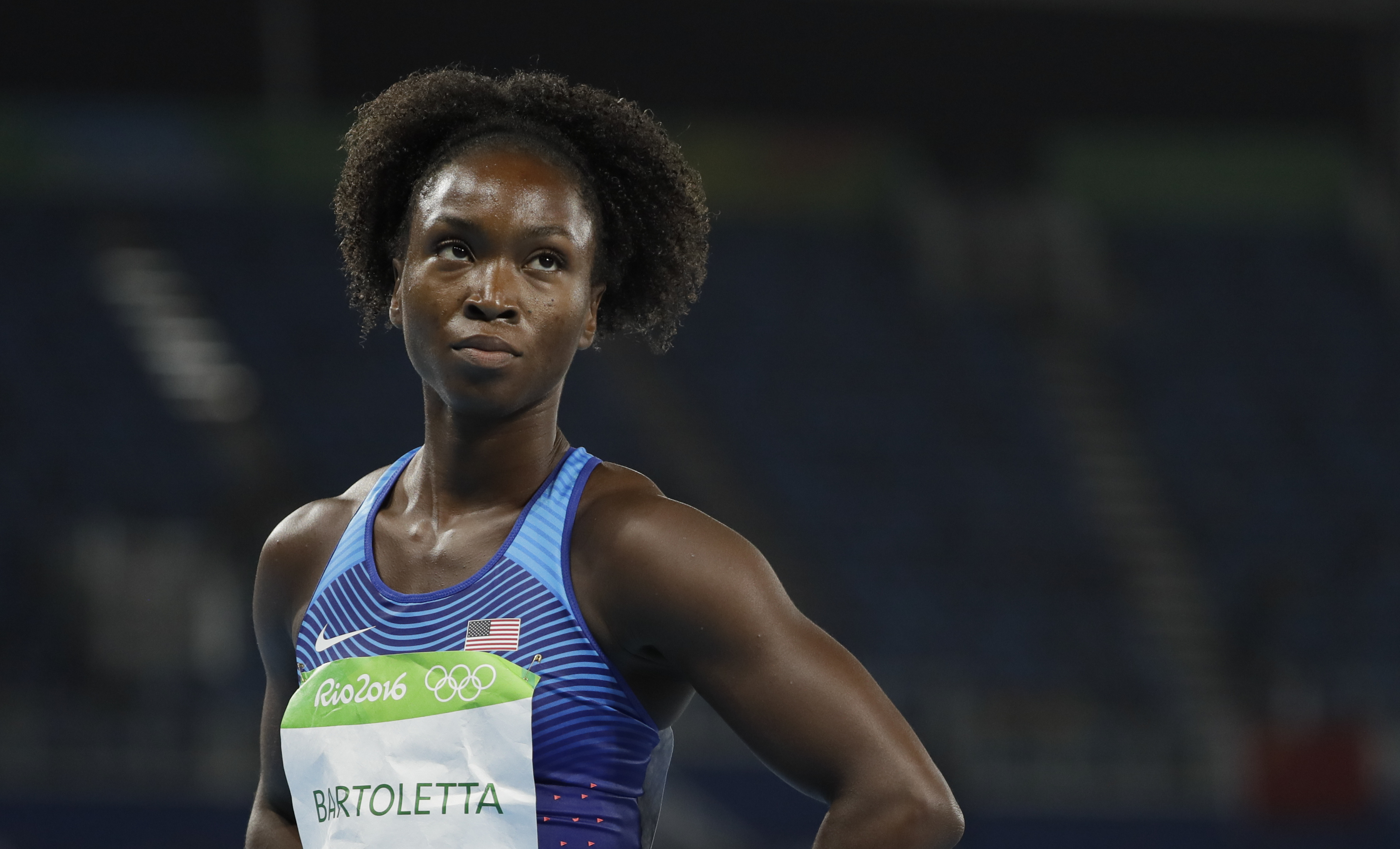 United States' Tianna Bartoletta after winning a women's 100-meter heat during the athletics competitions of the 2016 Summer Olympics at the Olympic stadium in Rio de Janeiro, Brazil, Friday, Aug. 12, 2016. (AP Photo/David J. Phillip)
