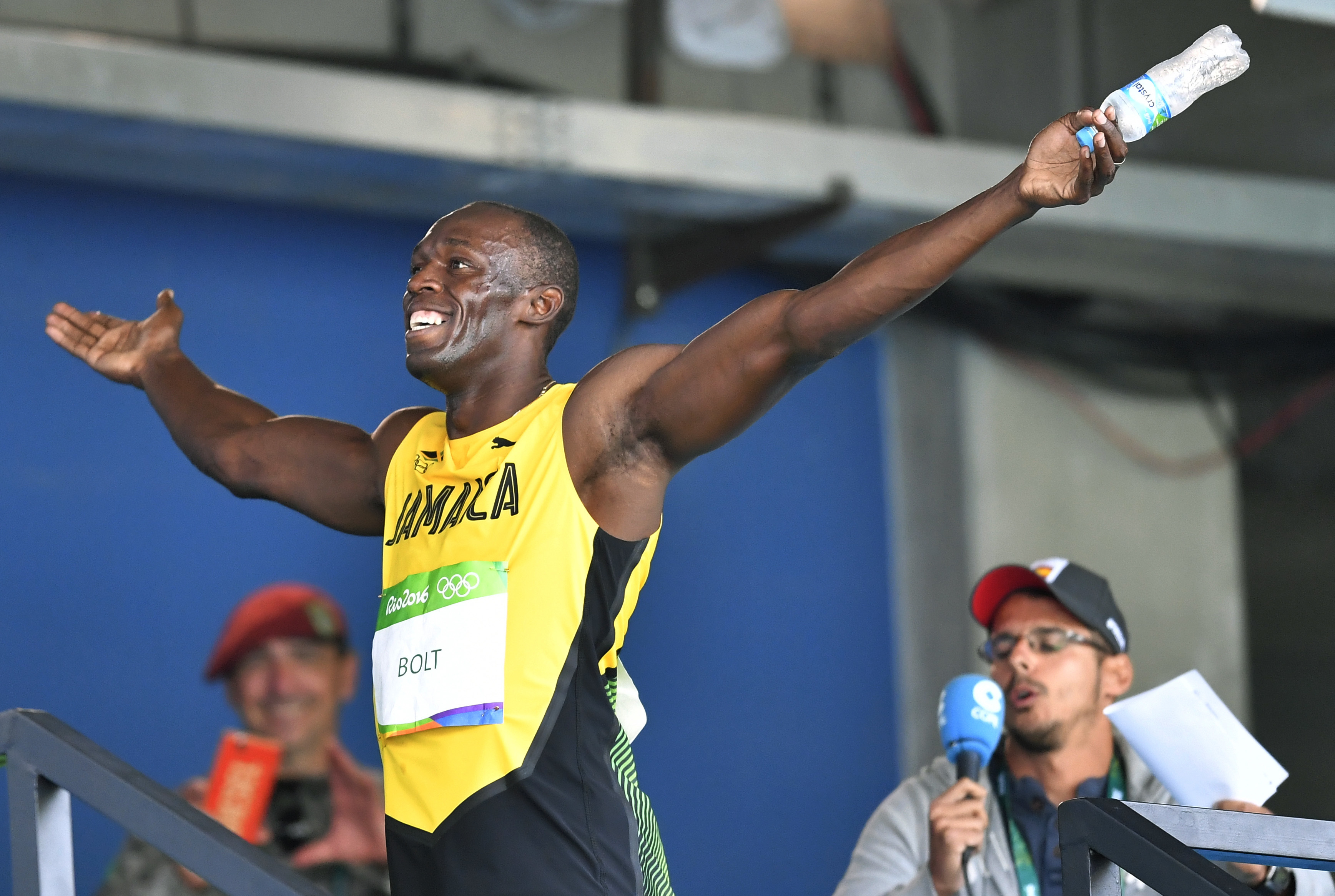Jamaica's Usain Bolt celebrates after winning a men's 100-meter heat during the athletics competitions of the 2016 Summer Olympics at the Olympic stadium in Rio de Janeiro, Brazil, Saturday, Aug. 13, 2016. (AP Photo/Martin Meissner)