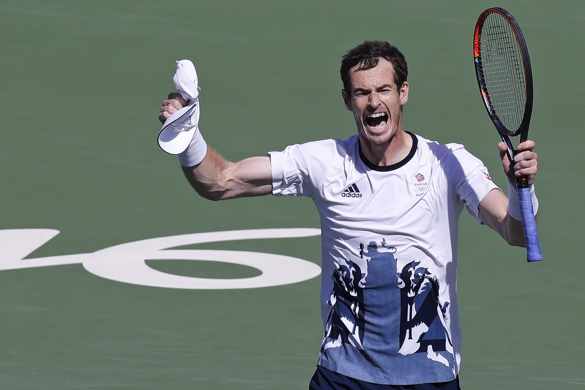 Andy Murray, of England, raises his arms after defeating Kei Nishikori, of Japan, during their semi-final round match at the 2016 Summer Olympics in Rio de Janeiro, Brazil, Saturday, Aug. 13, 2016. (AP Photo/Charles Krupa)
