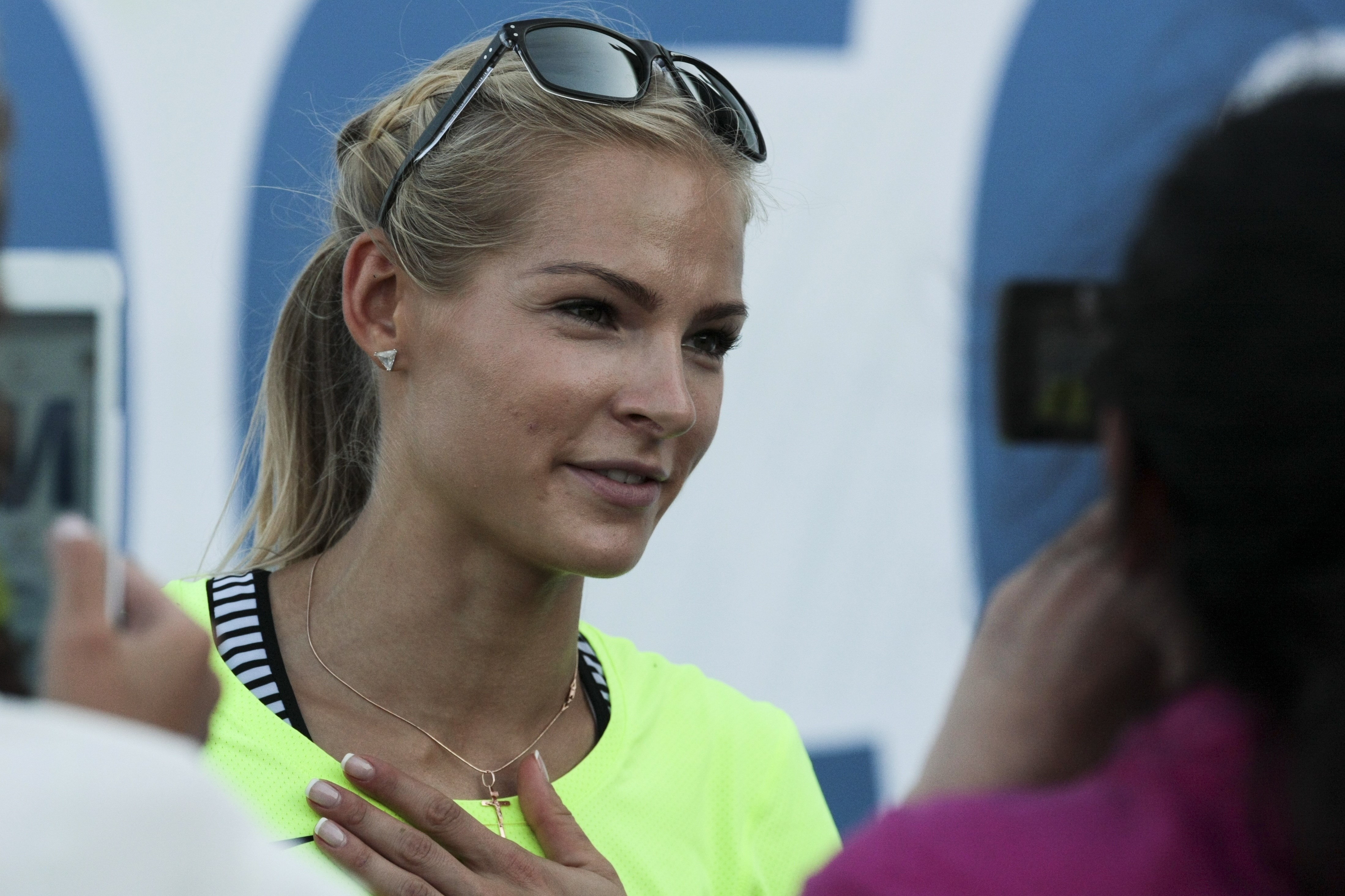 FILE - In this June 20, 2016 file photo, Russia's long jumper Darya Klishina speaks at the national track and field championship in Cheboksary, Russia. Klishina is the only athlete who met the standards when track's governing body, the IAAF, banned the Ru