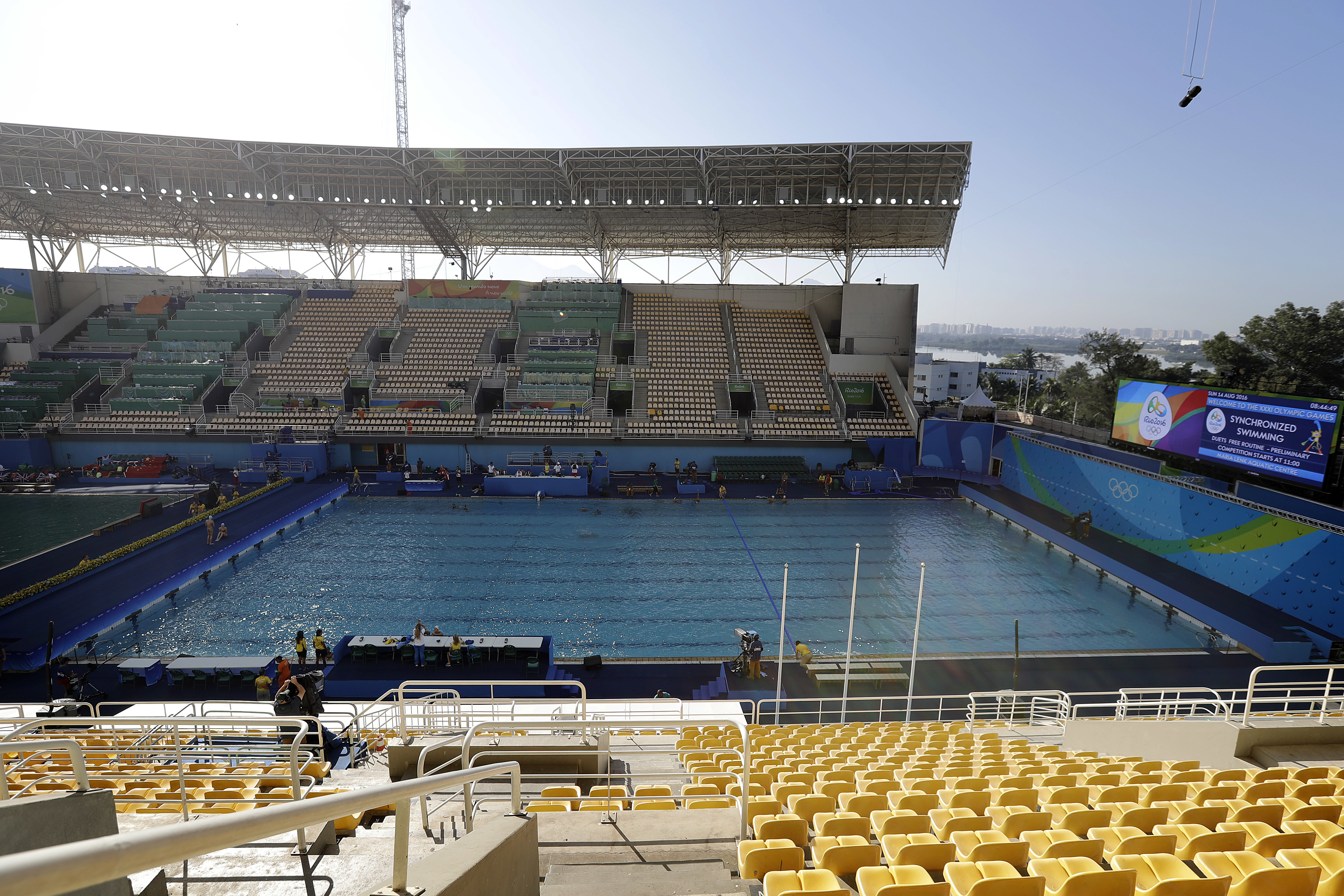 The pool in the Lenk Aquatic Center where the 2016 Summer Olympics synchronized swimming competition is held, is photographed after going through a change in water overnight, on Sunday, Aug. 14, 2016 in Rio de Janeiro, Brazil. Olympic officials gave up on