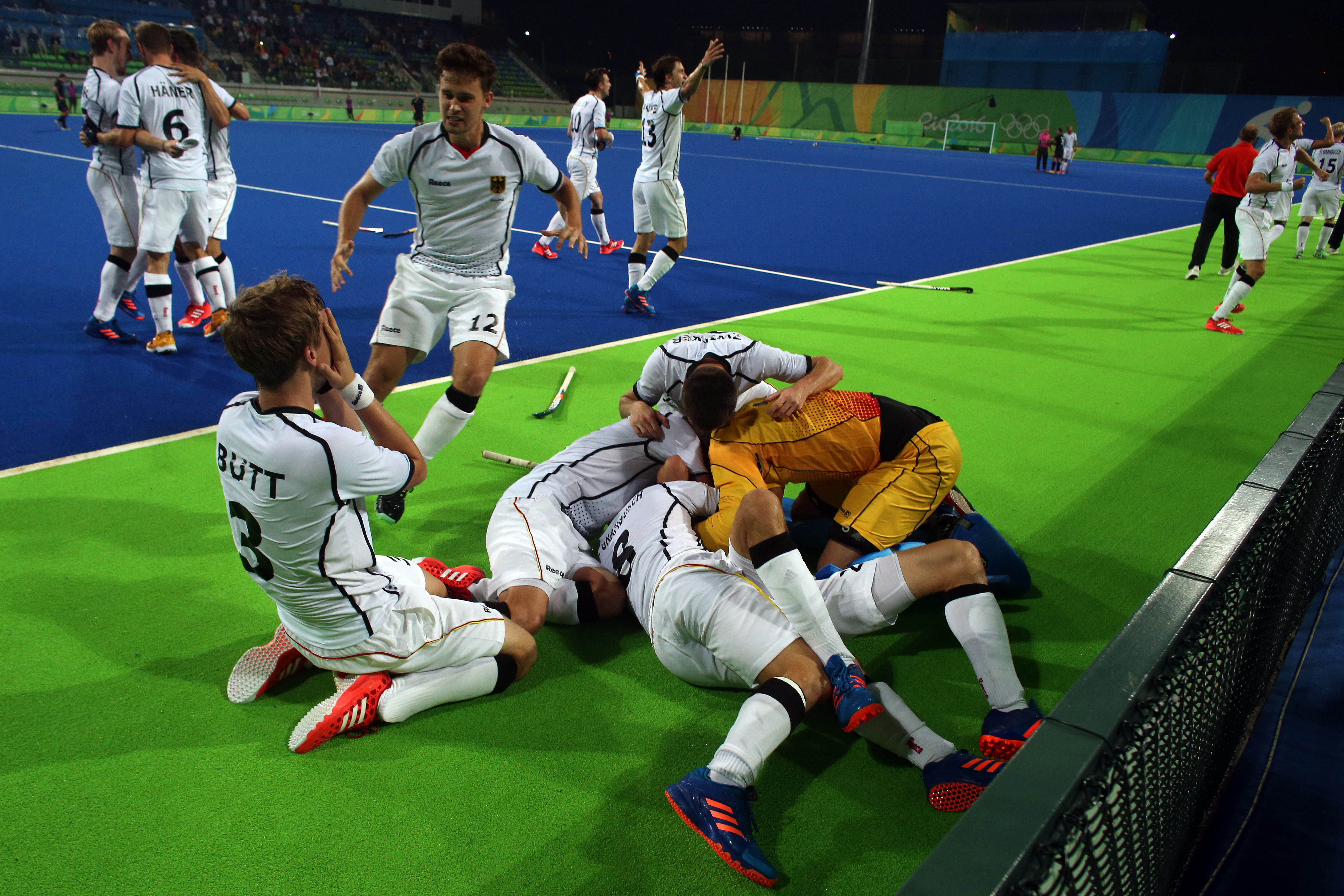Players from Germany celebrate after scoring against New Zealand and winning the match during a men's field hockey quarter final match at the 2016 Summer Olympics in Rio de Janeiro, Brazil, Sunday, Aug. 14, 2016. (AP Photo/Dario Lopez-Mills)