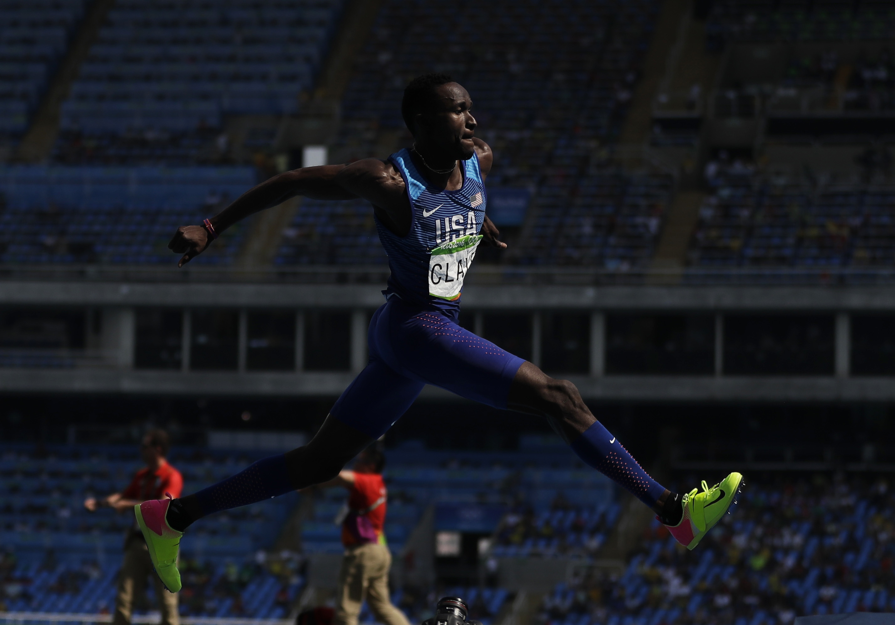 United States' Will Claye makes an attempt in the men's triple jump final during the athletics competitions of the 2016 Summer Olympics at the Olympic stadium in Rio de Janeiro, Brazil, Tuesday, Aug. 16, 2016. (AP Photo/Matt Slocum)