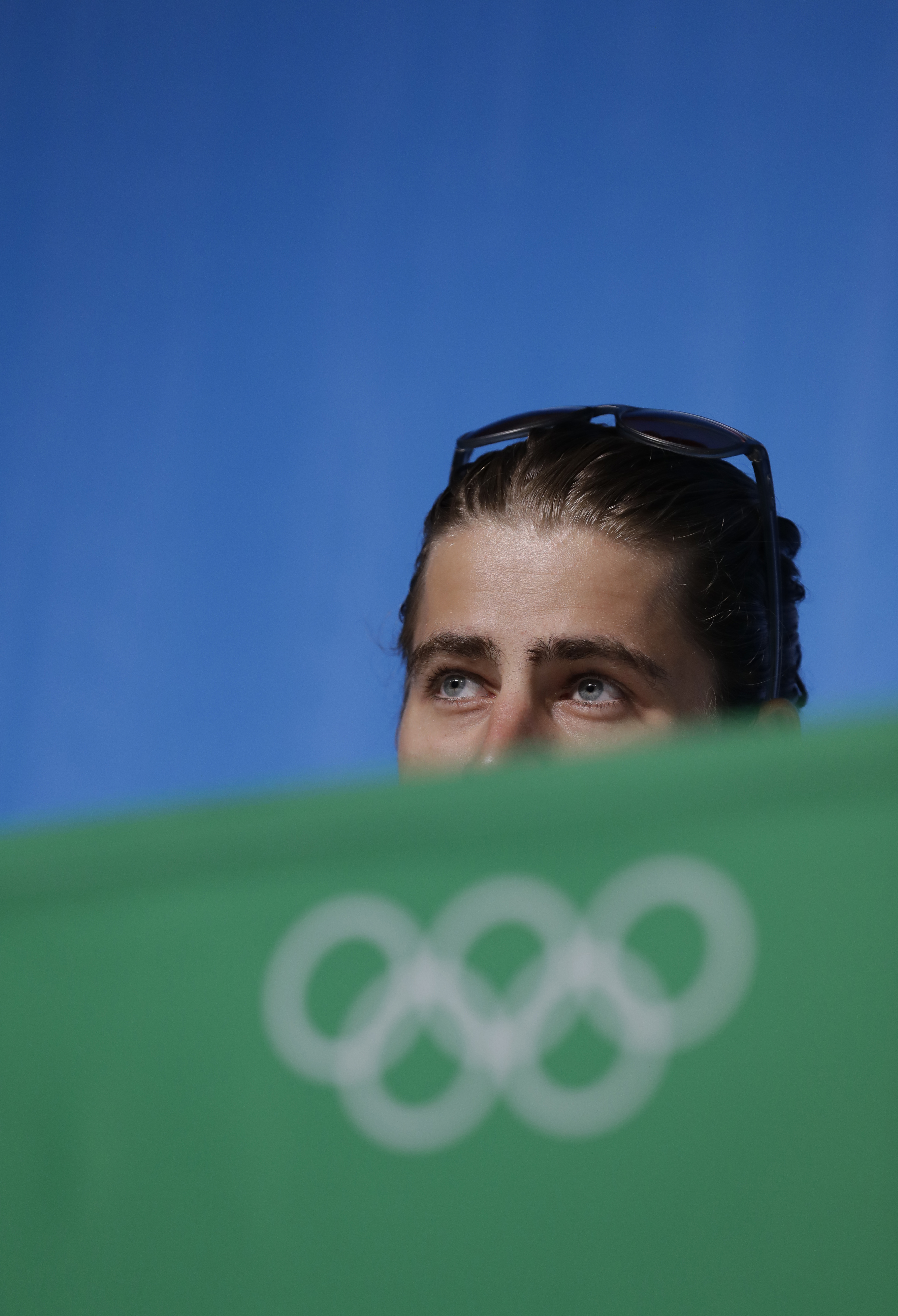 Slovakian cyclist Peter Sagan talks to journalists during a press conference he held at the 2016 Summer Olympics in Rio de Janeiro, Brazil, Tuesday, Aug. 16, 2016. (AP Photo/Andrew Medichini)