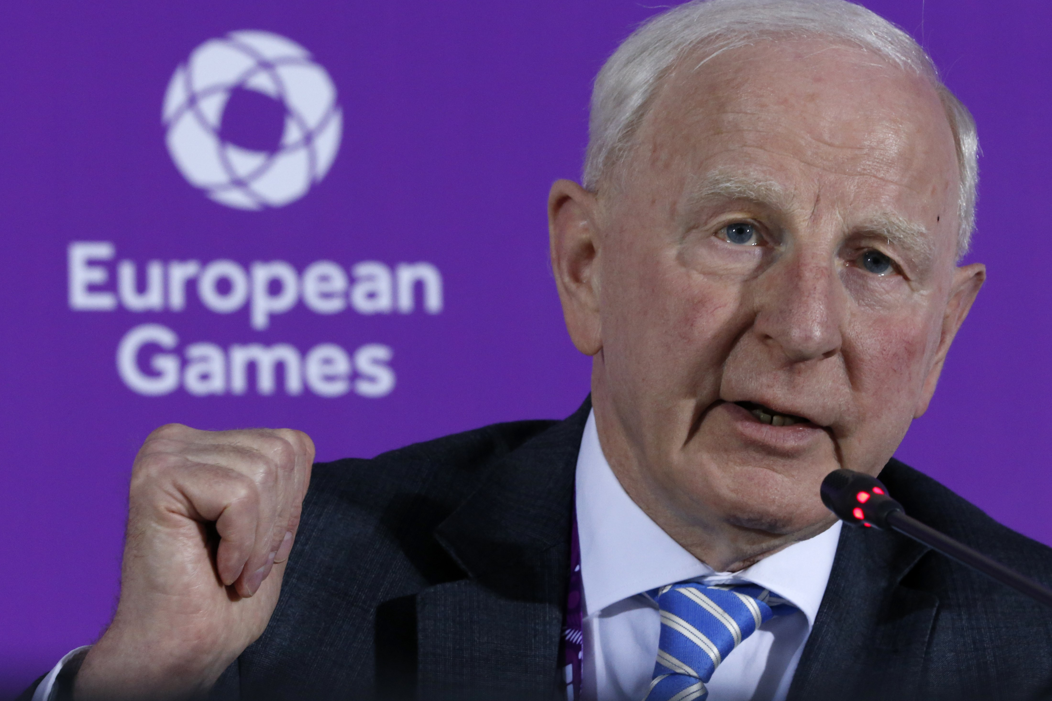 FILE - In this June 11, 2015 file photo, Patrick Hickey, the head of the European Olympic Committee speaks during a news conference on the eve of the opening of the 2015 European Games in Baku, Azerbaijan. Rio de Janeiro authorities have issued an arrest