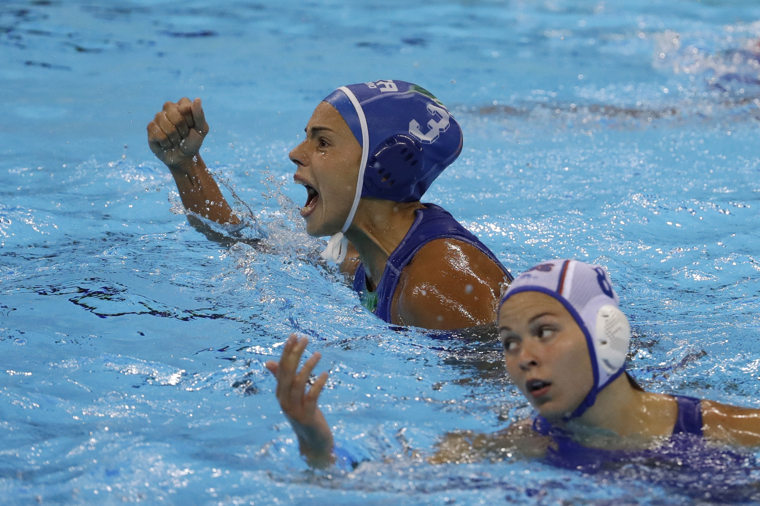Italy's Arianna Garibotti , reacts after scored a goal against Russia during their women's semifinal water polo match at the 2016 Summer Olympics in Rio de Janeiro, Brazil, Wednesday, Aug. 17, 2016. (AP Photo/Eduardo Verdugo)