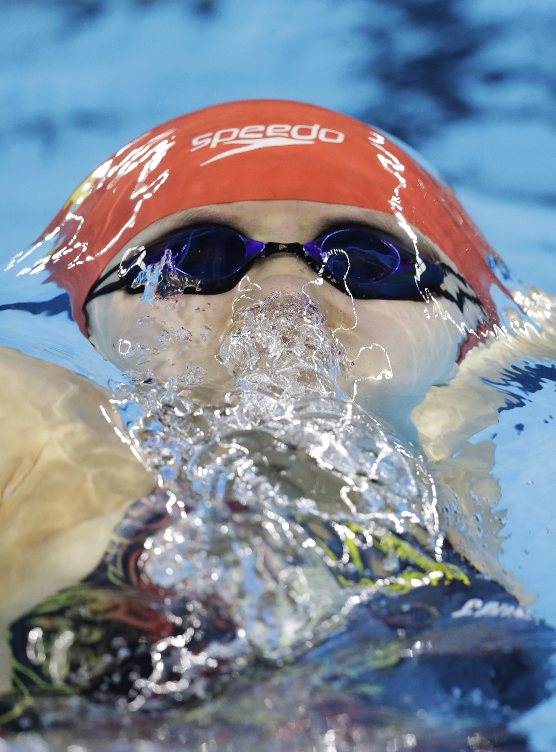FILE - In this Aug. 7, 2016 file photo, China's Fu Yuanhui competes in the women's 100-meter backstroke swimming heat at the Summer Olympics in Rio de Janeiro, Brazil. The Chinese Olympic swimmer whose popularity soared during the 2016 Rio Games for her a