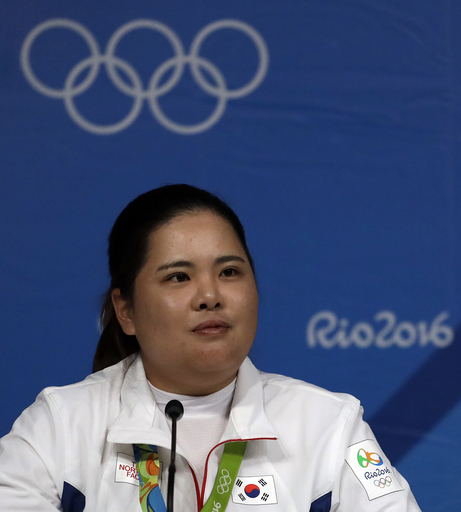 Gold medalist Inbee Park of South Korea, speaks at a news conference after the final round of the women's golf event at the 2016 Summer Olympics in Rio de Janeiro, Brazil, Saturday, Aug. 20, 2016. (AP Photo/Chris Carlson)