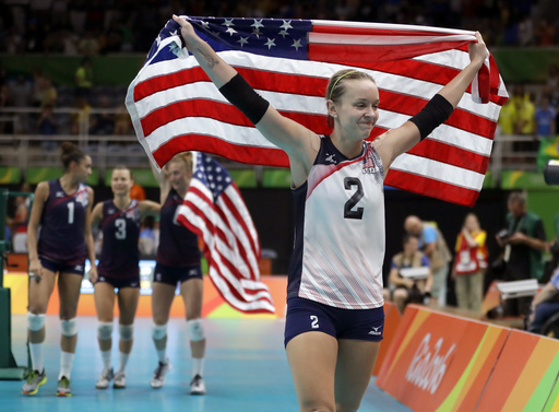 United States' Kayla Banwarth celebrates after defeating the Netherlands during a women's bronze medal volleyball match at the 2016 Summer Olympics in Rio de Janeiro, Brazil, Saturday, Aug. 20, 2016. The United States won 3-1. (AP Photo/Jeff Roberson)