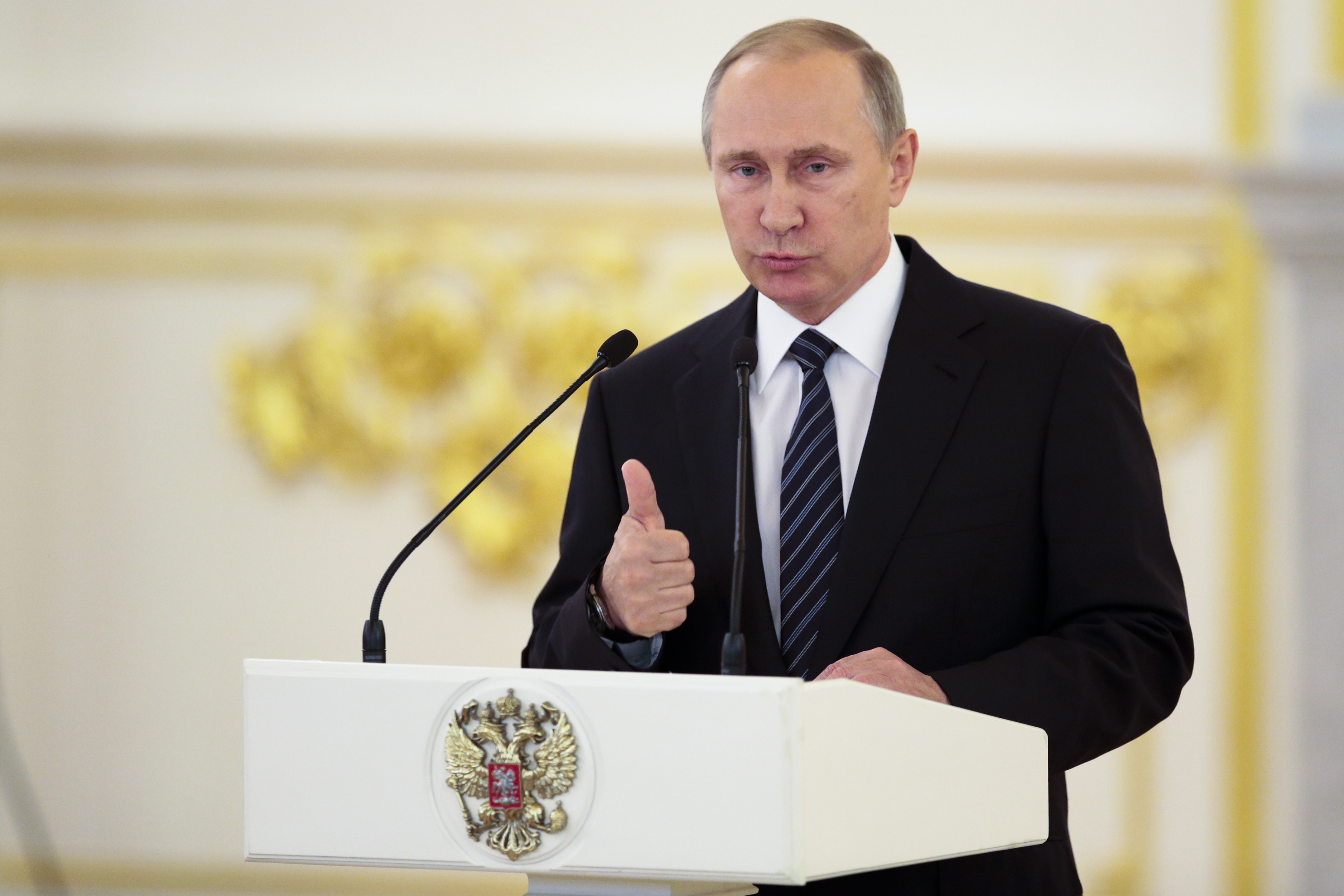 Russian President Vladimir Putin gives a speech during an awards ceremony for Russia's Olympians in Moscow's Kremlin in Moscow, Russia, Thursday, Aug. 25, 2016. (AP Photo/Ivan Sekretarev)