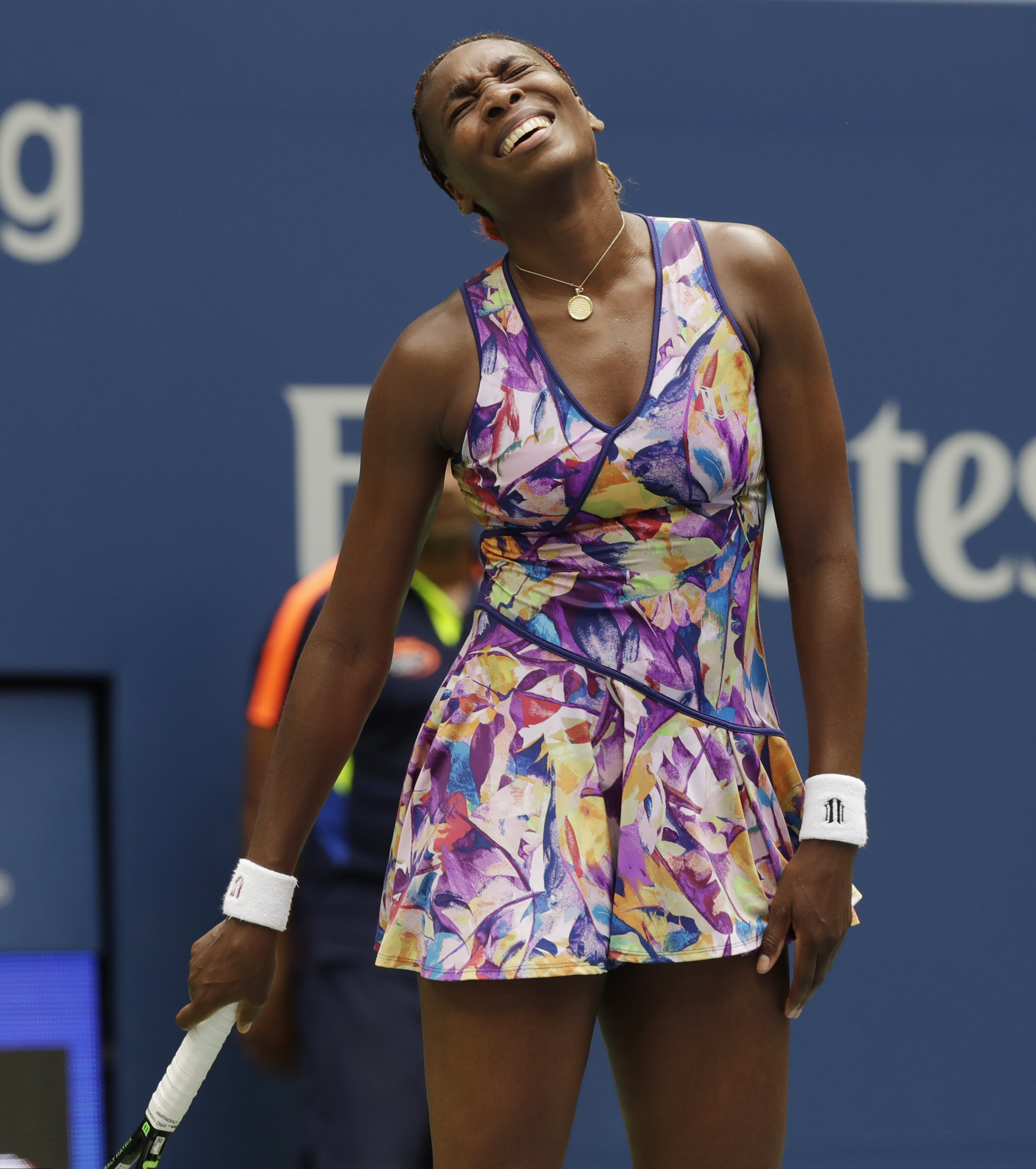 Venus Williams reacts after a point to Karolina Pliskova, of the Czech Republic, during the fourth round of the U.S. Open tennis tournament, Monday, Sept. 5, 2016, in New York. (AP Photo/Charles Krupa)