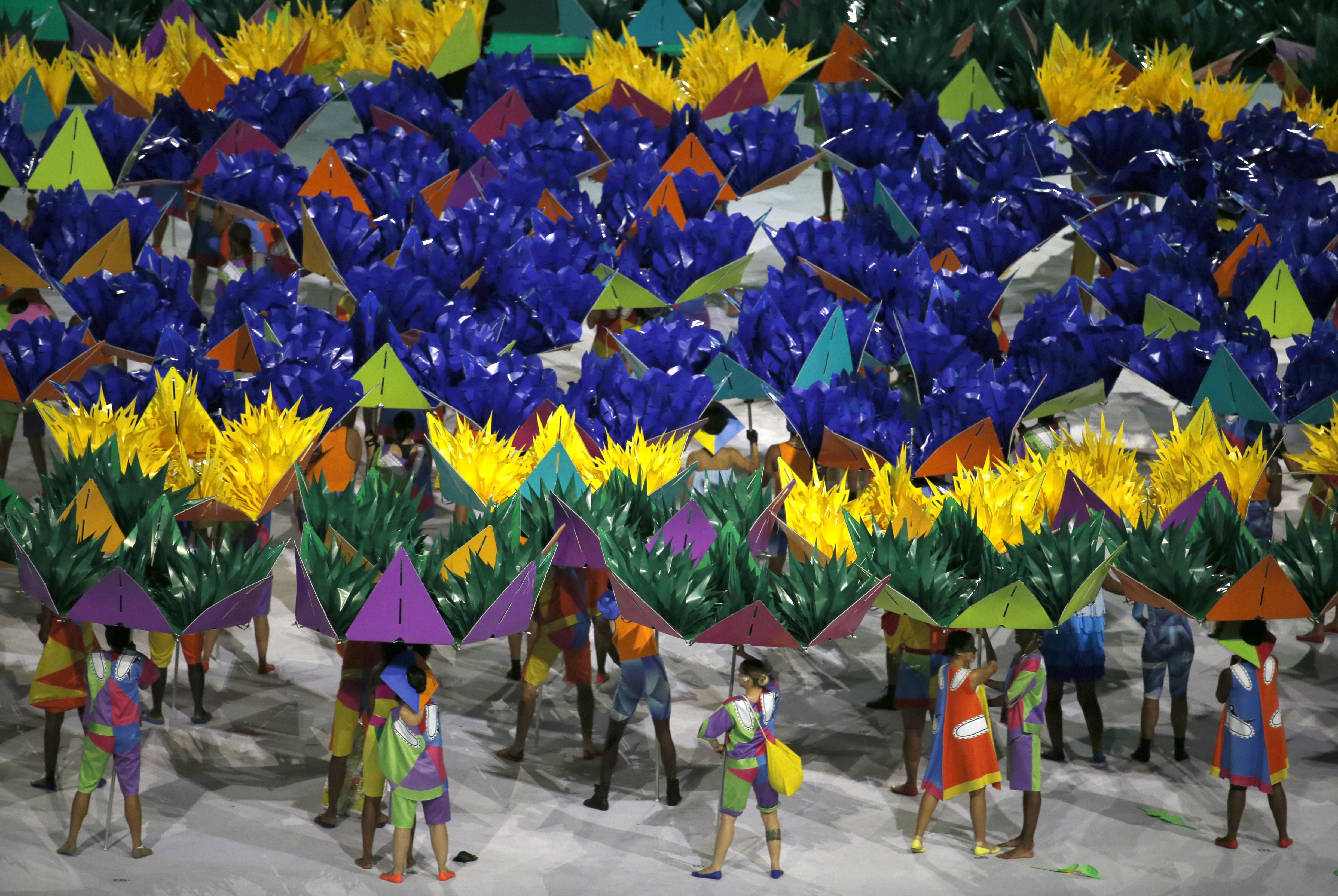 Dancers perform during the opening ceremony of the Rio 2016 Paralympic games at Maracana Stadium in Rio de Janeiro, Brazil, Sept. 7, 2016. (AP Photo/Silvia Izquierdo)
