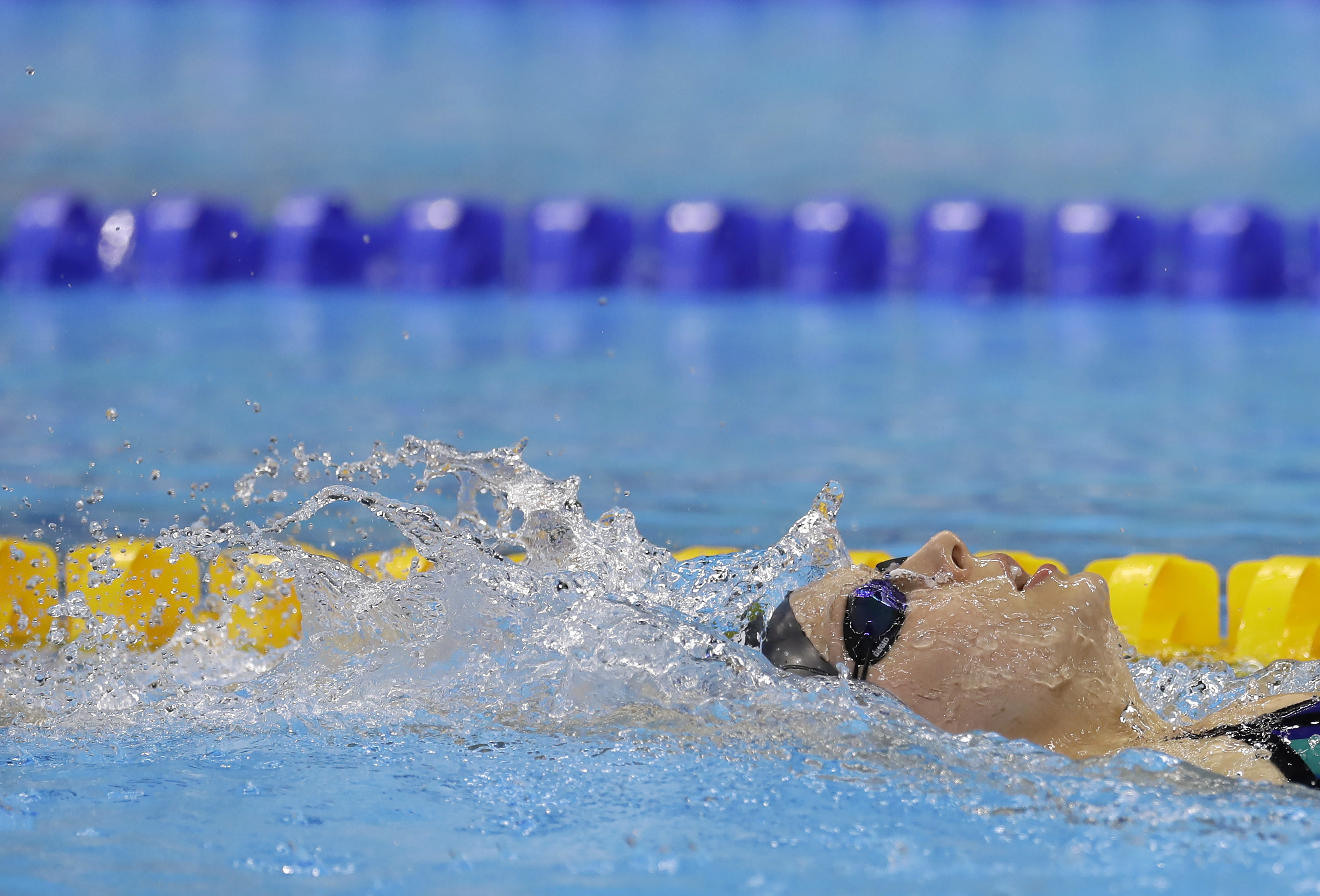 Jessica Long of the U.S. swims during a warm up session before the swimming competitions at the Rio 2016 Paralympic Games in Rio de Janeiro, Brazil, Thursday, Sept. 8, 2016.(AP Photo/Leo Correa)