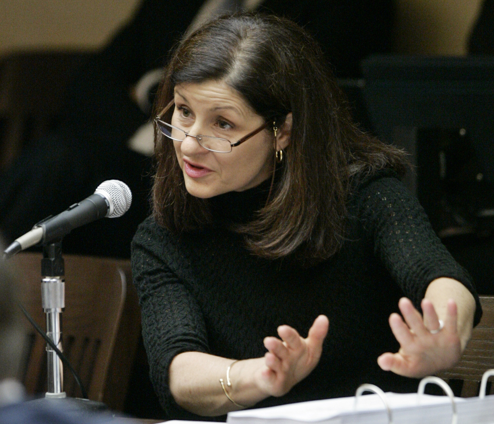 FILE - In this May 18, 2007, file photo, Christiane Ayotte, director of the Montreal WADA accredited laboratory, testifies during an arbitration hearing on the doping allegations against 2006 Tour de France champion Floyd Landis at Pepperdine University i