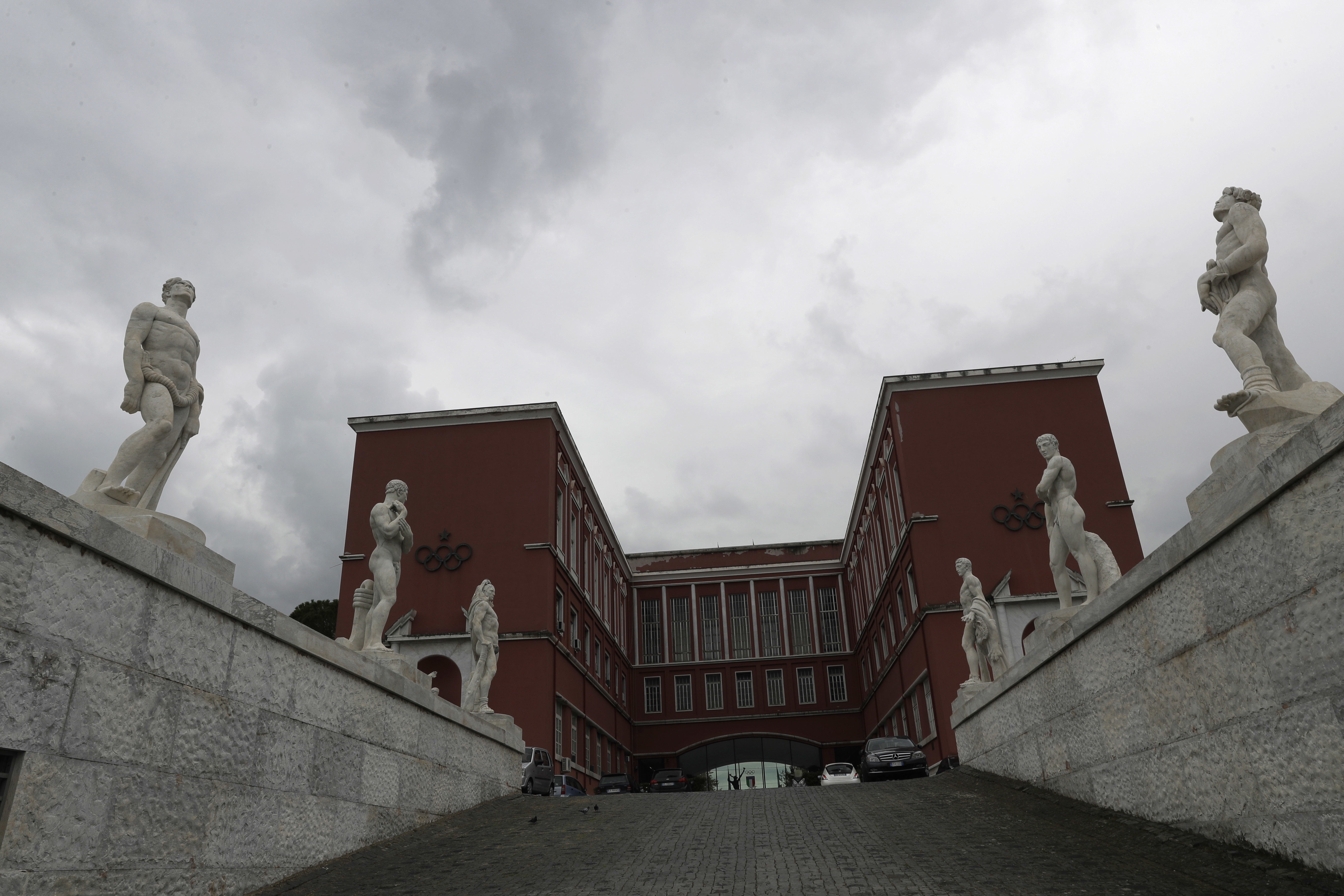 A view of the CONI (The Italian Olympic Committee) headquarters in Rome, Tuesday, Oct. 11, 2016. The Italian Olympic Committee says it is suspending Rome's bid for the 2024 Games for the time being, while leaving open the possibility for a revival if the