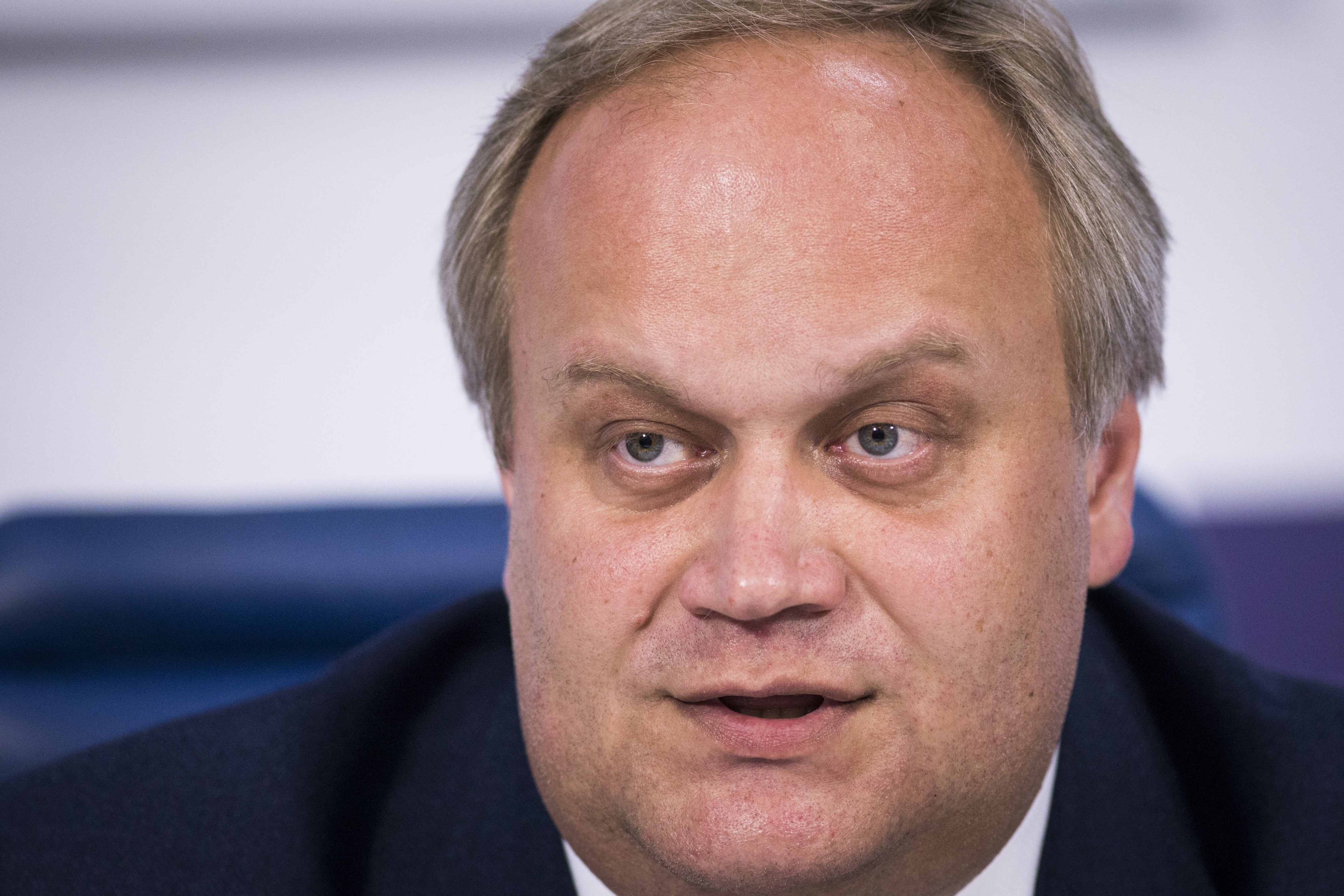 FILE - In this Friday, May 13, 2016 file photo Russian Deputy Sports Minister Yuri Nagornykh speaks at a news conference in Moscow, Russia. Russian Deputy Sports Minister Yuri Nagornykh who was suspended following allegations he covered up doping cases at