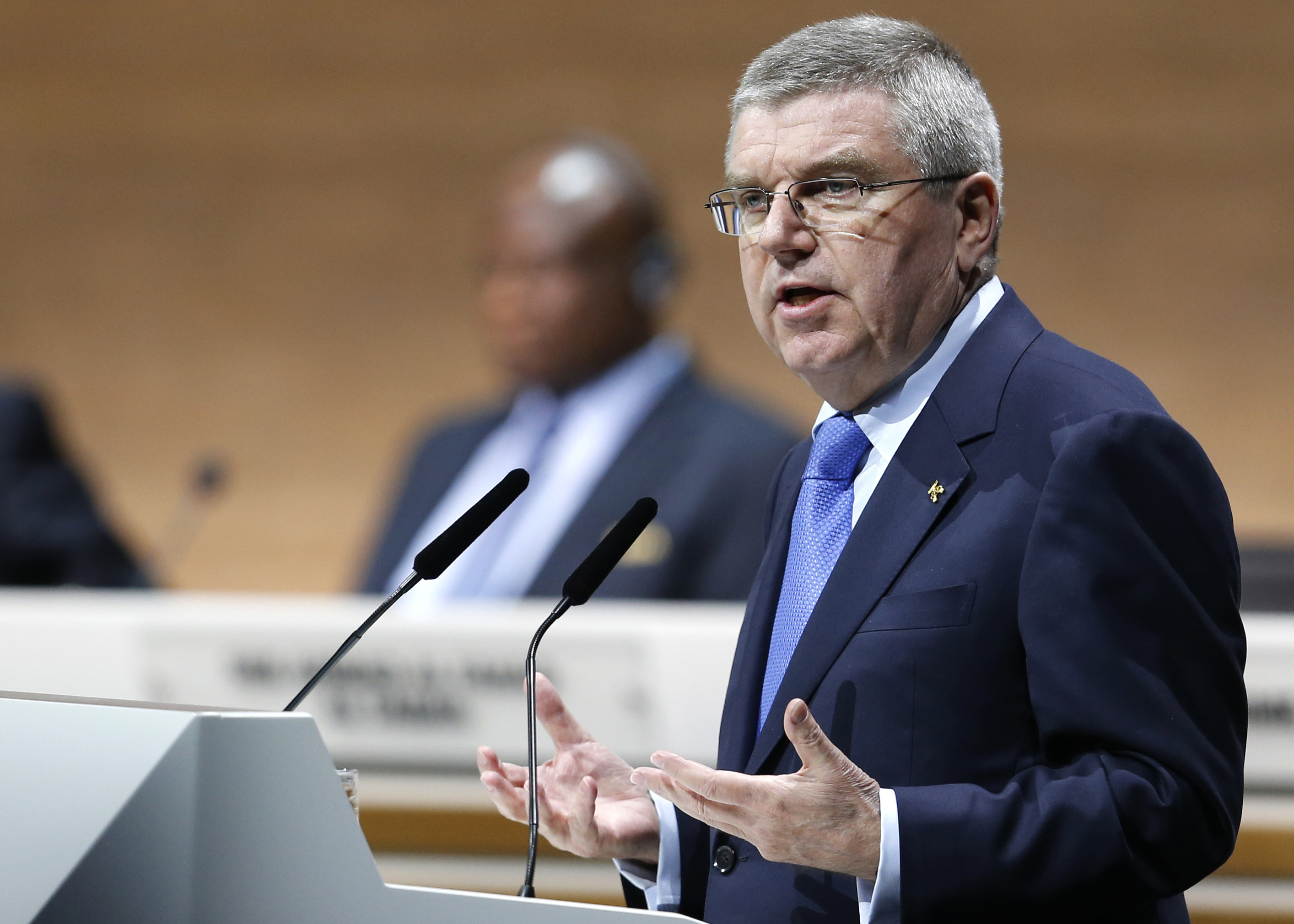 "FILE - In this Friday, Feb. 26, 2016 file photo,  IOC President Thomas Bach speaks during the extraordinary FIFA congress in Zurich, Switzerland. IOC President Thomas Bach has said on Friday, Dec 16 he feels ""shock"" and ""inner rage"" at the extent of Russi"