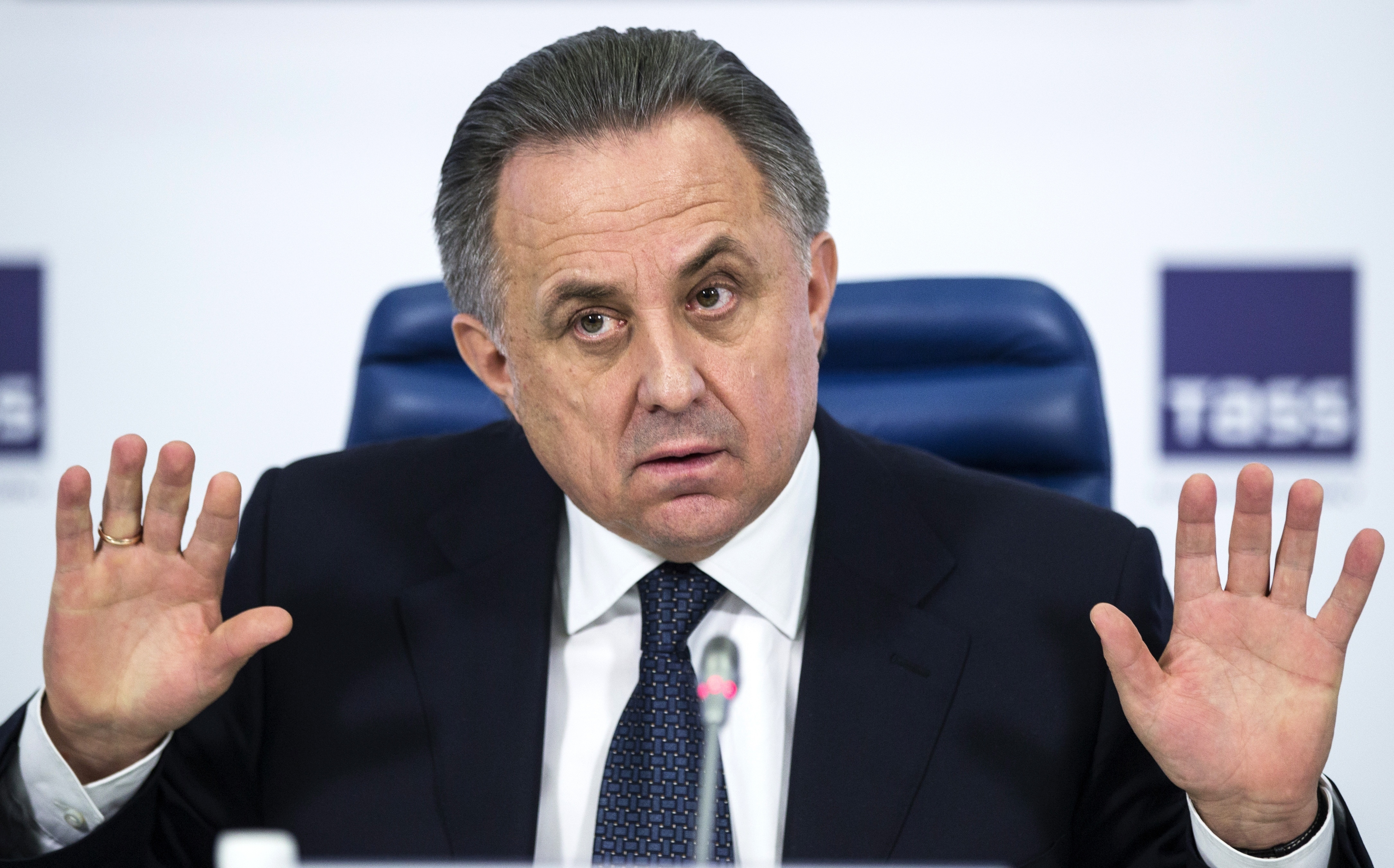 FILE - In this Dec. 25, 2015 file photo Russian Sports Minister Vitaly Mutko gestures during a news conference in Moscow, Russia. Players from Russia's under-21 national soccer team had suspicious drug-test samples covered up, emails released by a World A