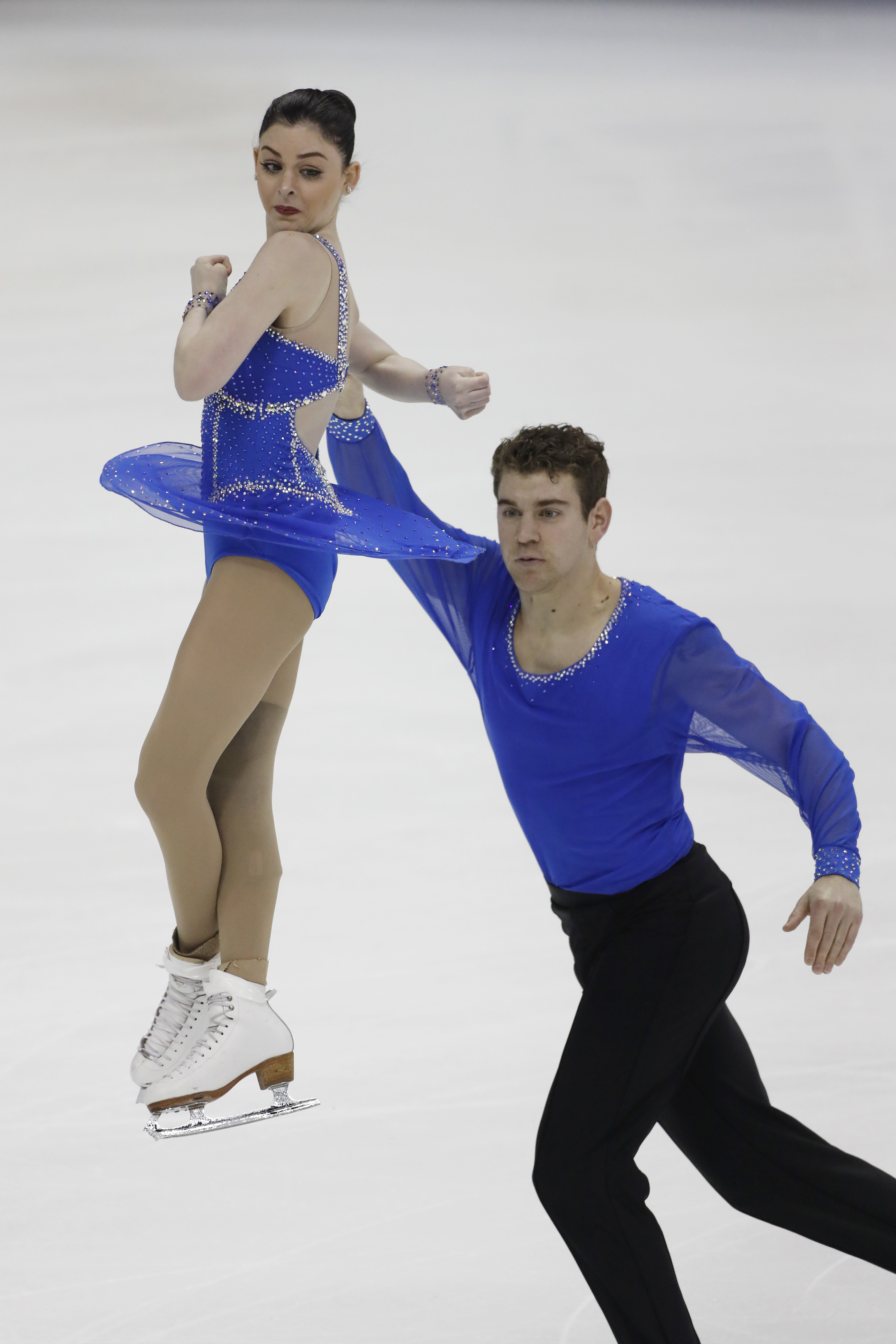 Haven Denney and Brandon Frazier perform during the pairs free skate competition at the U.S. Figure Skating Championships Saturday, Jan. 21, 2017, in Kansas City, Mo. (AP Photo/Colin E. Braley)