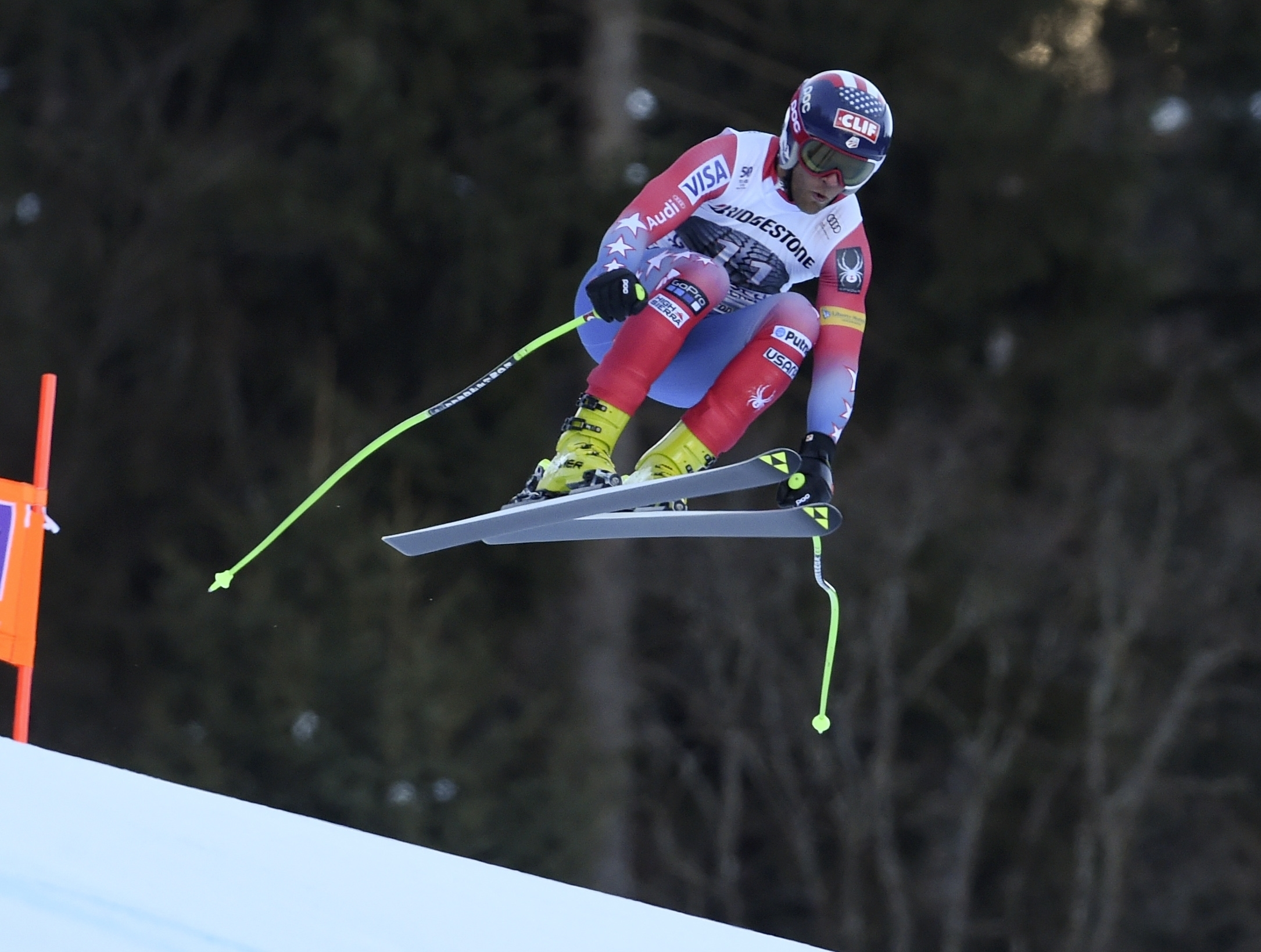 United States' Steven Nyman competes during an alpine ski, men's World Cup downhill race, in Garmisch Partenkirchen, Friday, Jan. 27, 2017. (AP Photo/Marco Tacca)