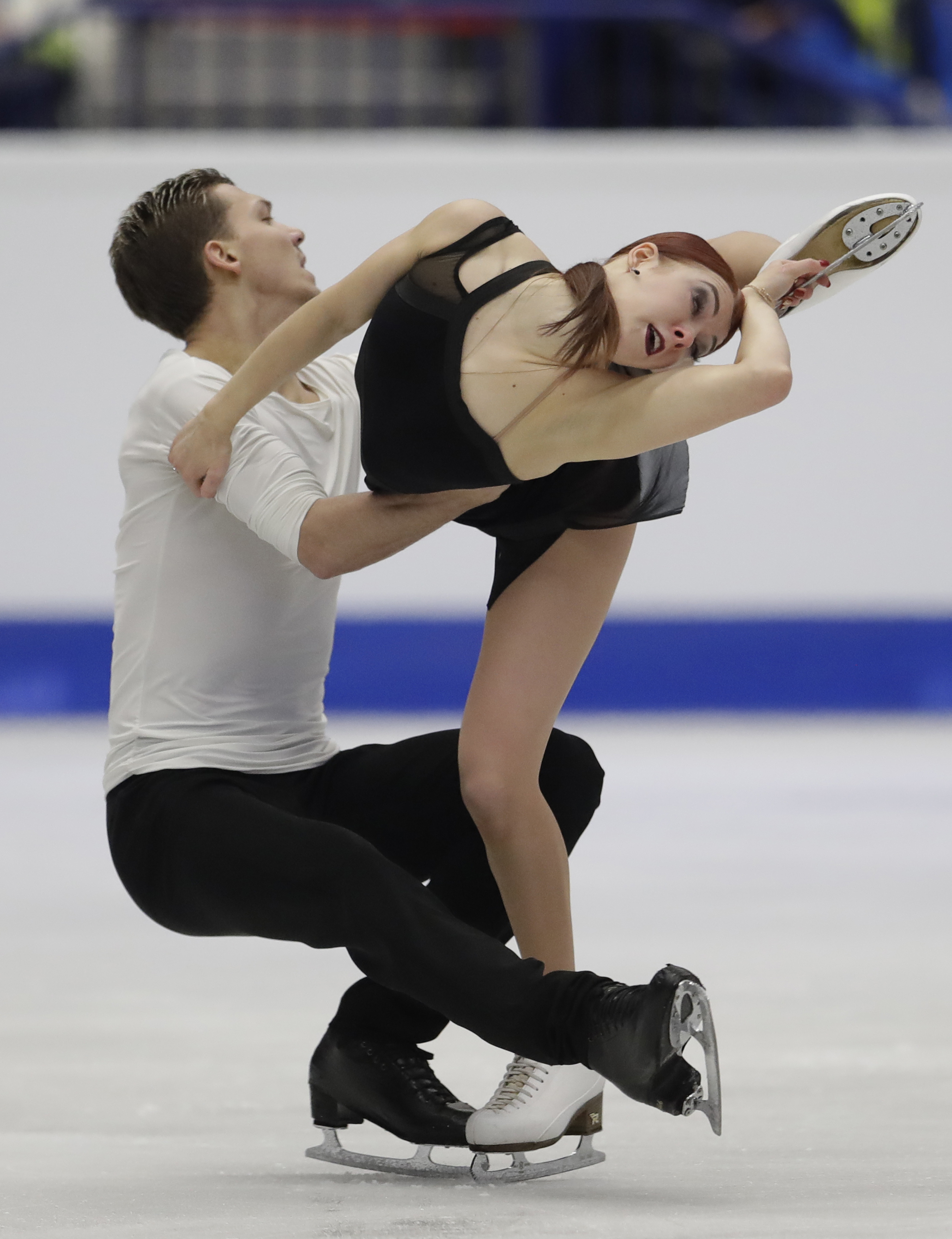 Russia's Ekaterina Bobrova and Dmitri Soloviev skate their ice dance free dance at the European Figure Skating Championships in Ostrava, Czech Republic, Saturday, Jan. 28, 2017. (AP Photo/Petr David Josek)