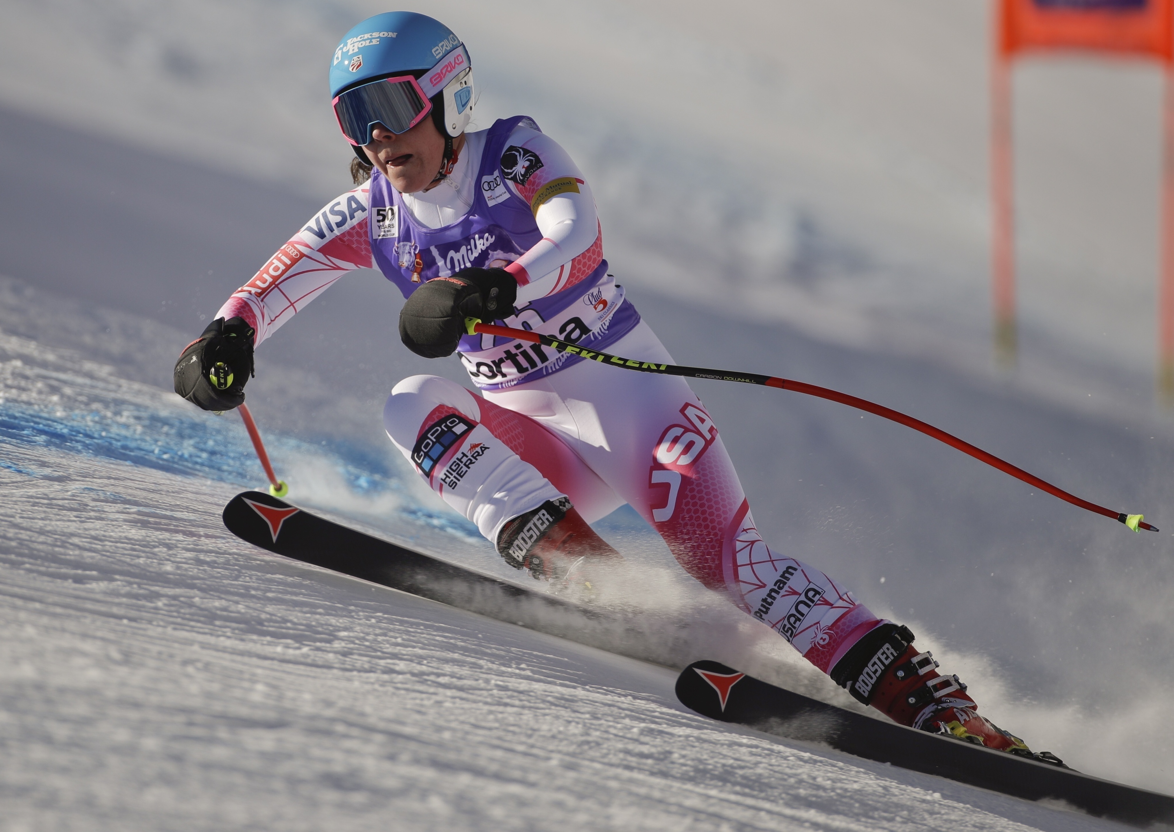 United States' Breezy Johnson competes during an alpine ski, women's World Cup downhill race, in Cortina d'Ampezzo, Italy, Saturday, Jan. 28, 2017. (AP Photo/Domenico Stinellis)