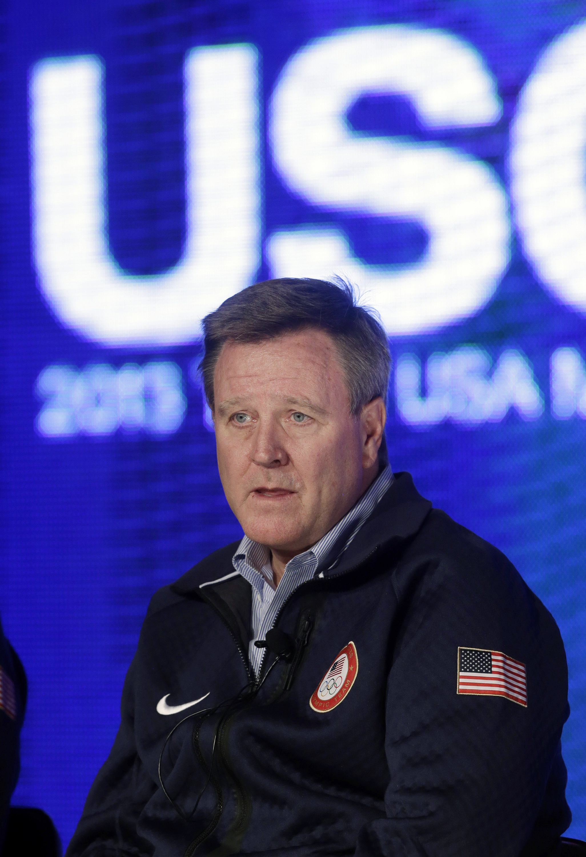 FILE - In this Oct. 1, 2013, file photo, Scott Blackmun, chief executive of the U.S. Olympic Committee, speaks with reporters during a news conference in Park City, Utah.  The USOC recently unveiled the public scorecards for diversity hiring in a frank, a