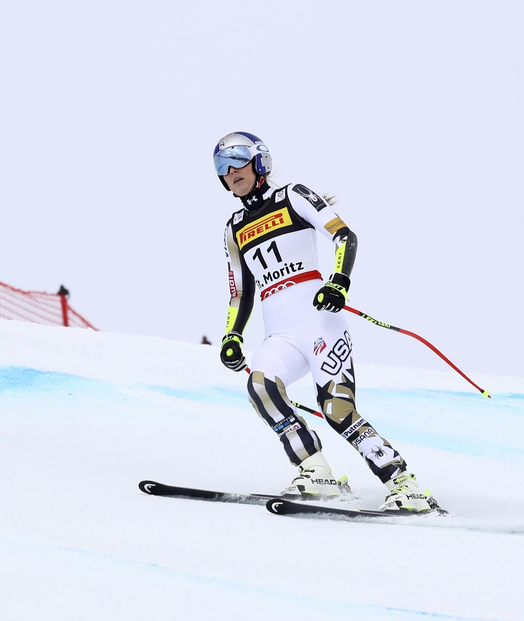 United States's Lindsey Vonn fails to finish a women's super-G, at the Alpine Ski World Championships, in St. Moritz, Switzerland, Tuesday, Feb. 7, 2017. (AP Photo/Alessandro Trovati)