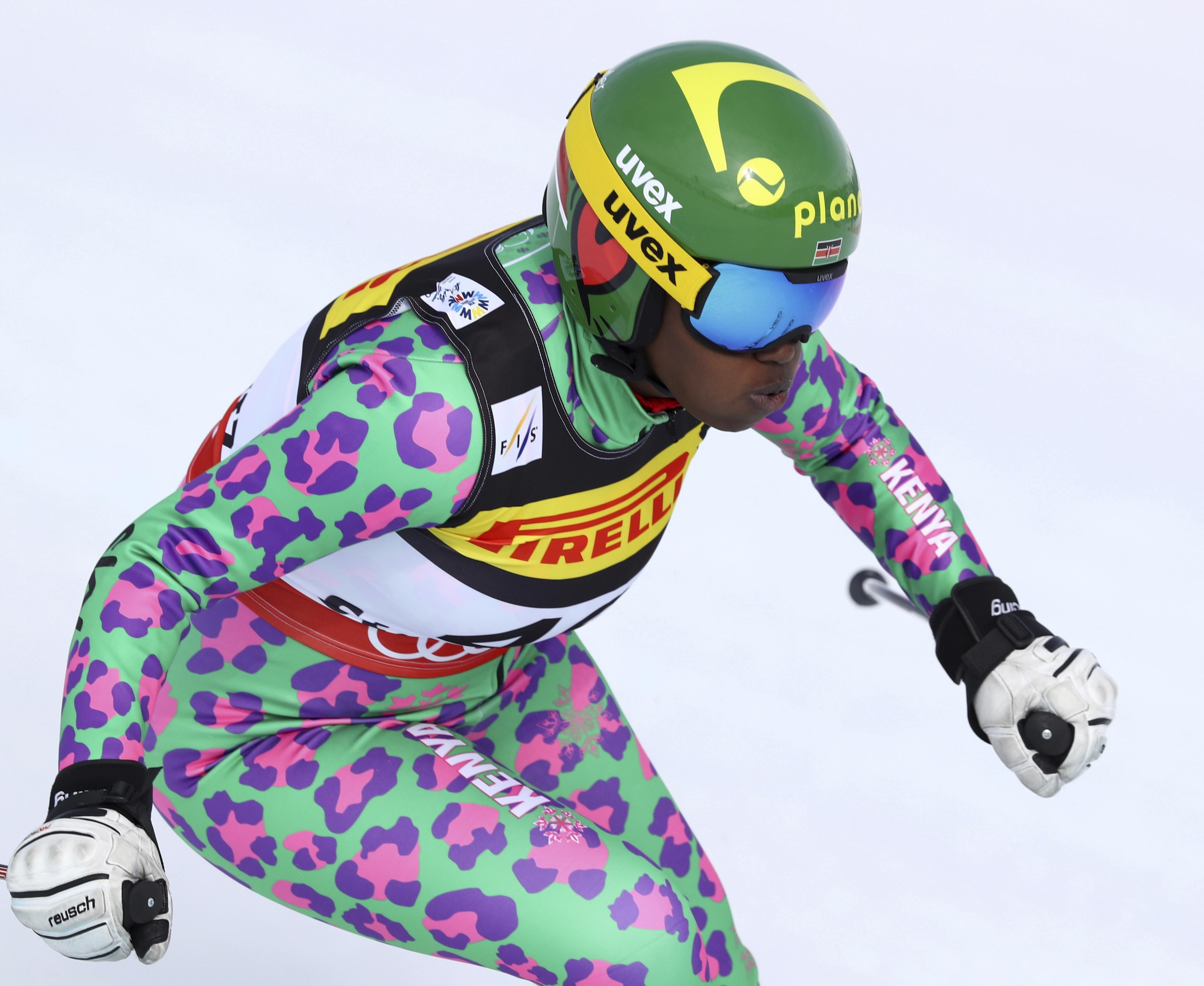 Kenya's Sabrina Simader speeds down the slope during a women's super-G, at the Alpine Ski World Championships, in St. Moritz, Switzerland, Tuesday, Feb. 7, 2017. (AP Photo/Alessandro Trovati)
