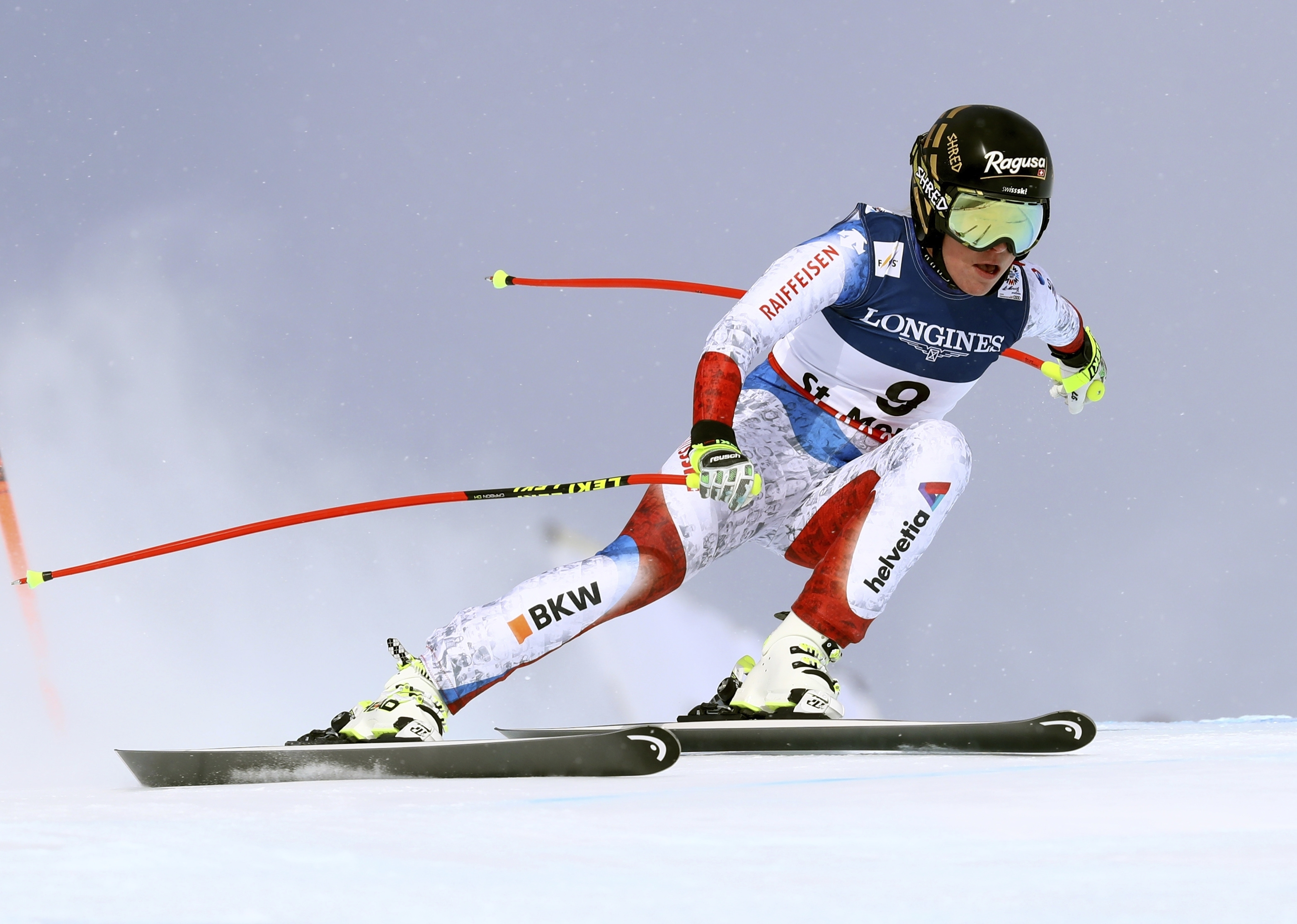 Switzerland's Lara Gut speeds down the course during a women's combined event, at the alpine ski World Championships, in St. Moritz, Switzerland, Friday, Feb. 10, 2017. (AP Photo/Alessandro Trovati)