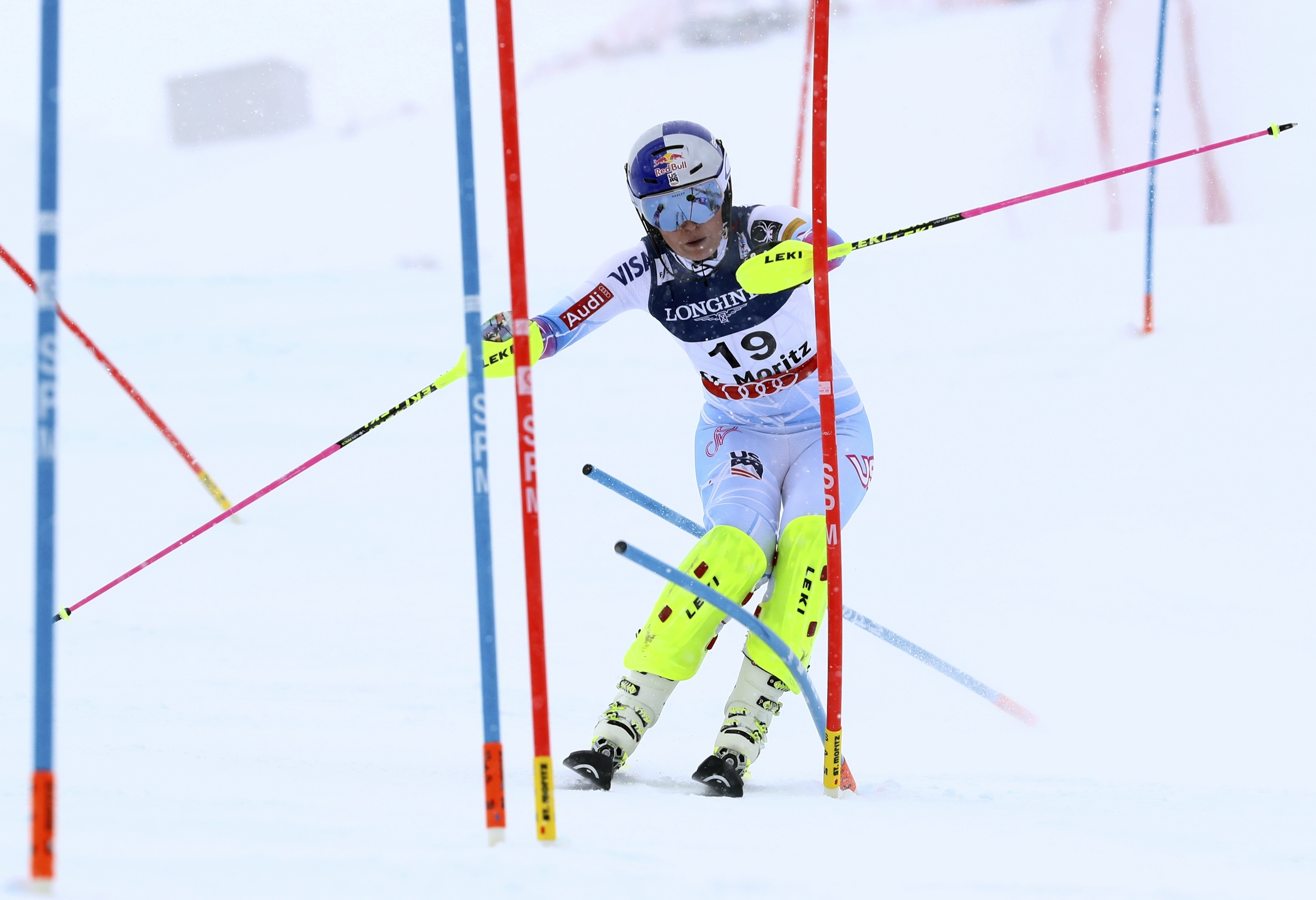 United States's Lindsey Vonn clears a pole during a women's combined event, at the alpine ski World Championships, in St. Moritz, Switzerland, Friday, Feb. 10, 2017. (AP Photo/Alessandro Trovati)