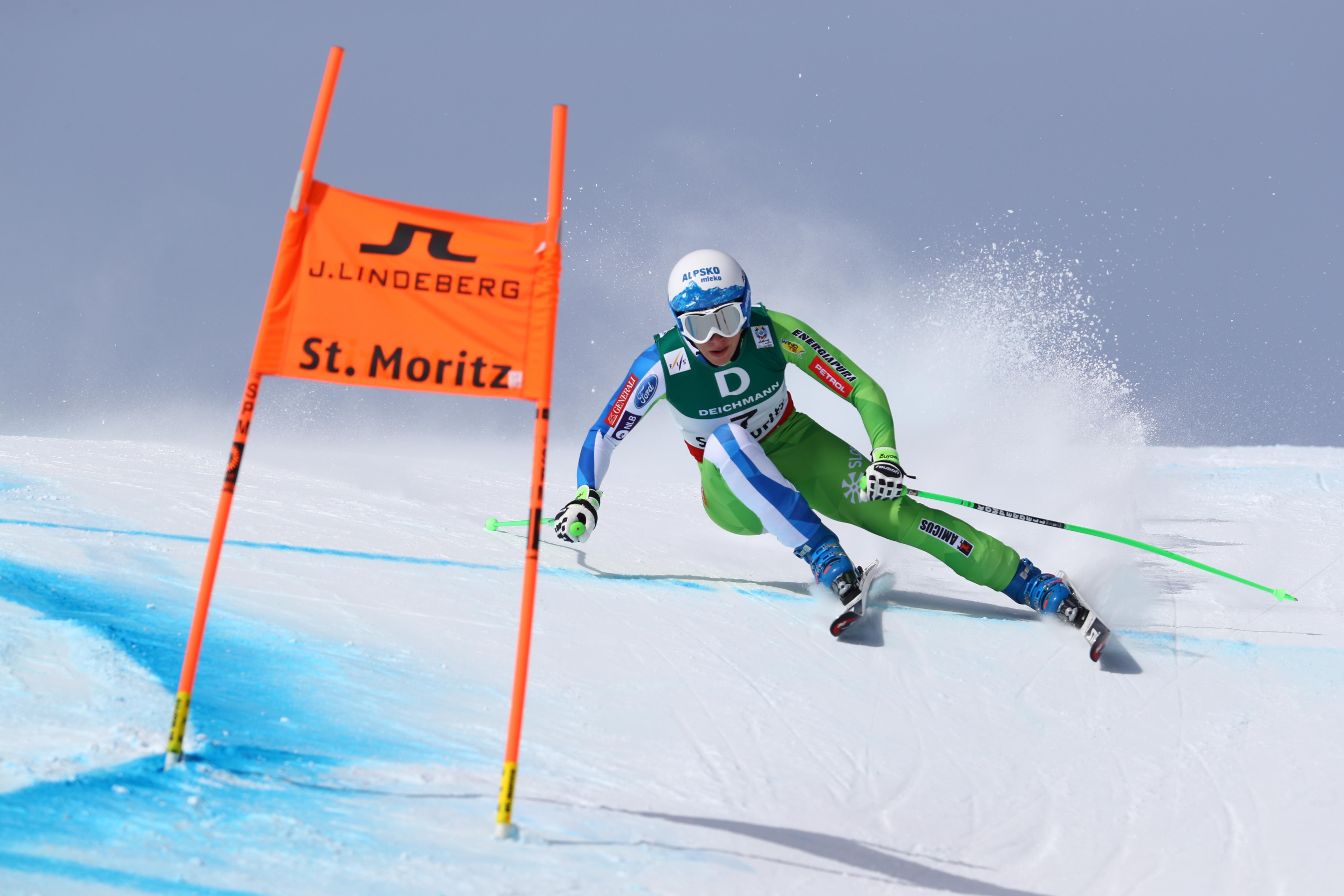 Slovenia's Ilka Stuhec competes during a women's downhill race, at the alpine ski World Championships in St. Moritz, Switzerland, Sunday, Feb.12, 2017. (AP Photo/Alessandro Trovati)