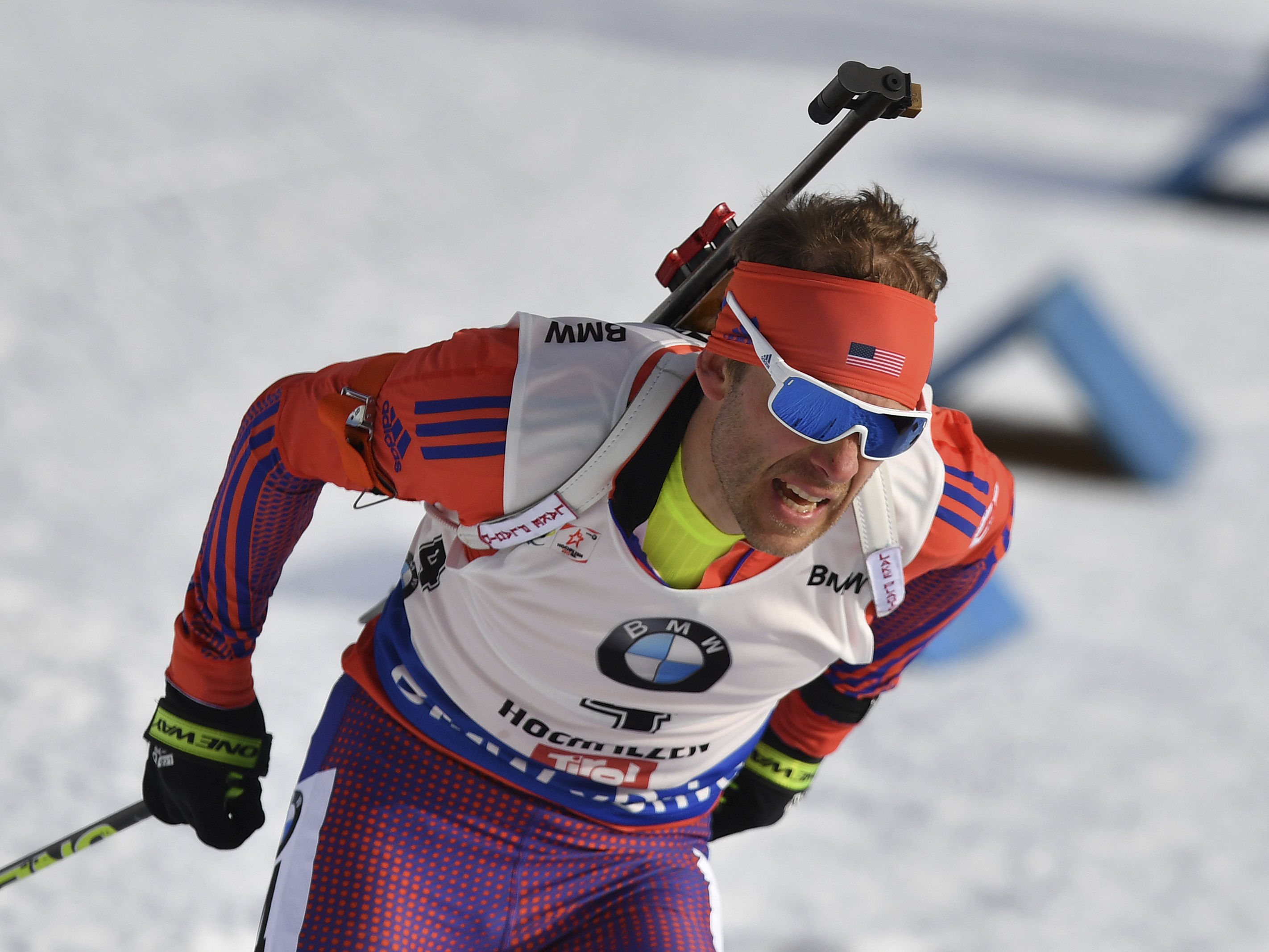 United States's Lowell Bailey competes during the men's 12.5 km pursuit competition at the Biathlon World Championships in Hochfilzen, Austrian province of Tyrol , Austria, Sunday, Feb. 12, 2017. (AP Photo/Kerstin Joensson)