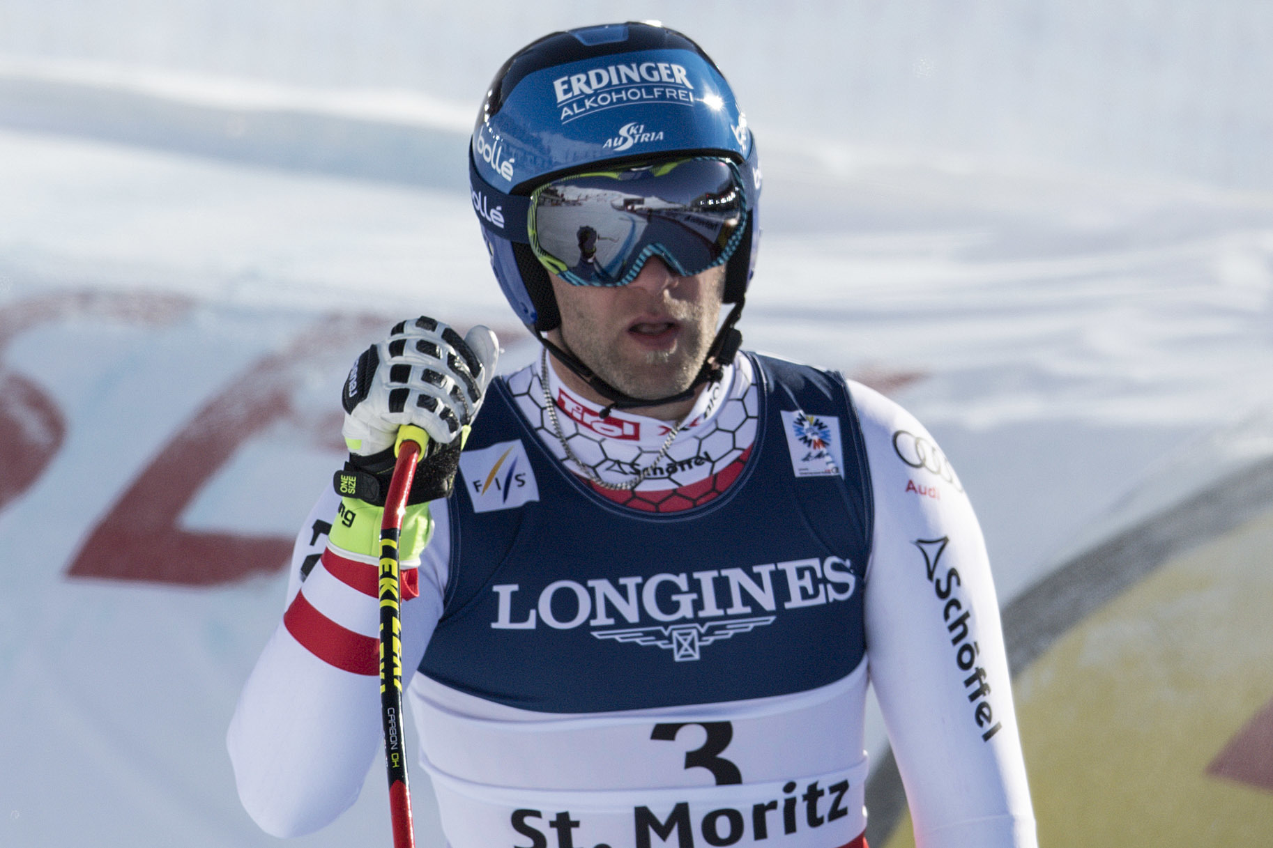 Romed Baumann of Austria stands in the finish area during the men's alpine combined downhill race at the 2017 FIS Alpine Skiing World Championships in St. Moritz, Switzerland, Monday, Feb. 13, 2017. ( (Peter Schneider/Keystone via AP)