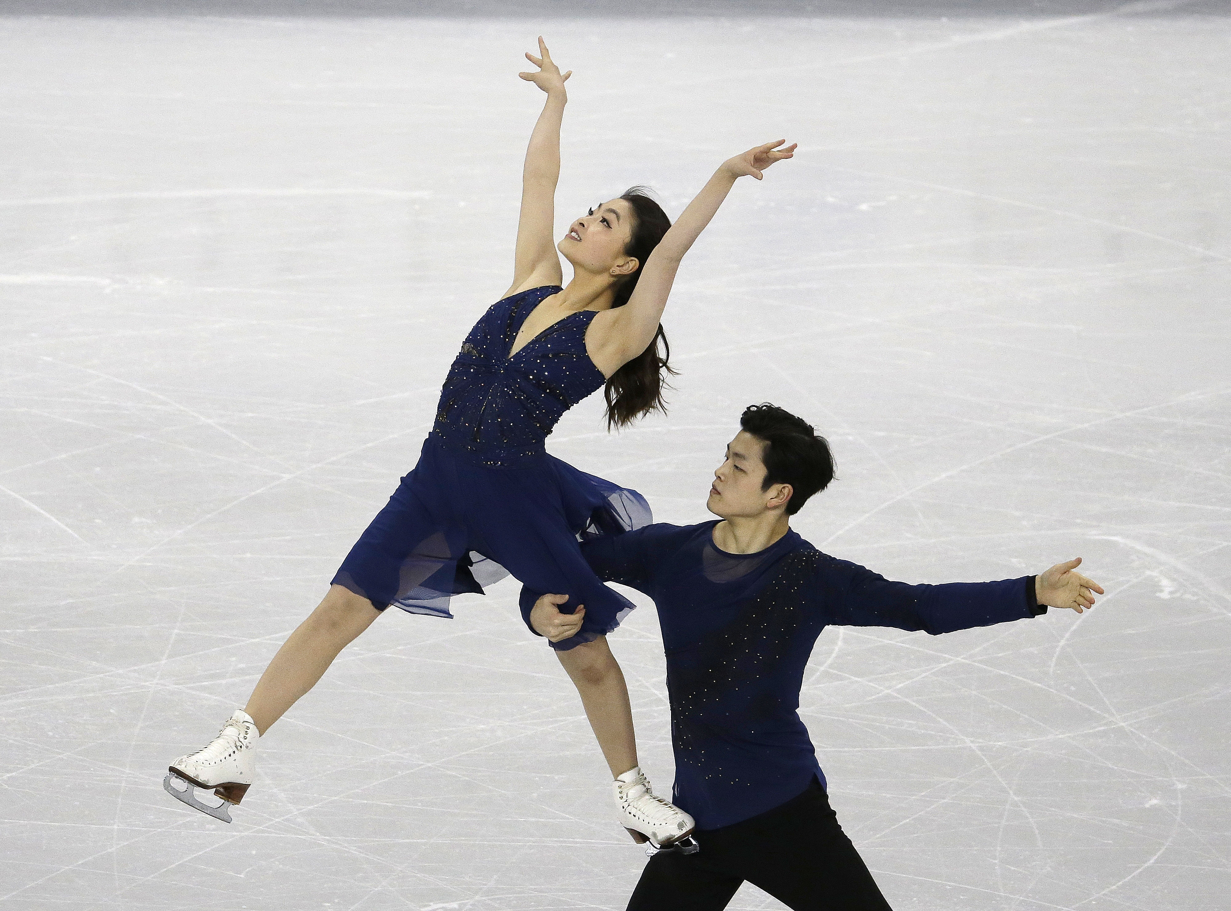 Silver medallists Maia Shibutani and Alex Shibutani of the United States perform in the Ice Dance Free Dance at the ISU Four Continents Figure Skating Championships in Gangneung, South Korea, Friday, Feb. 17, 2017. (AP Photo/Ahn Young-joon)