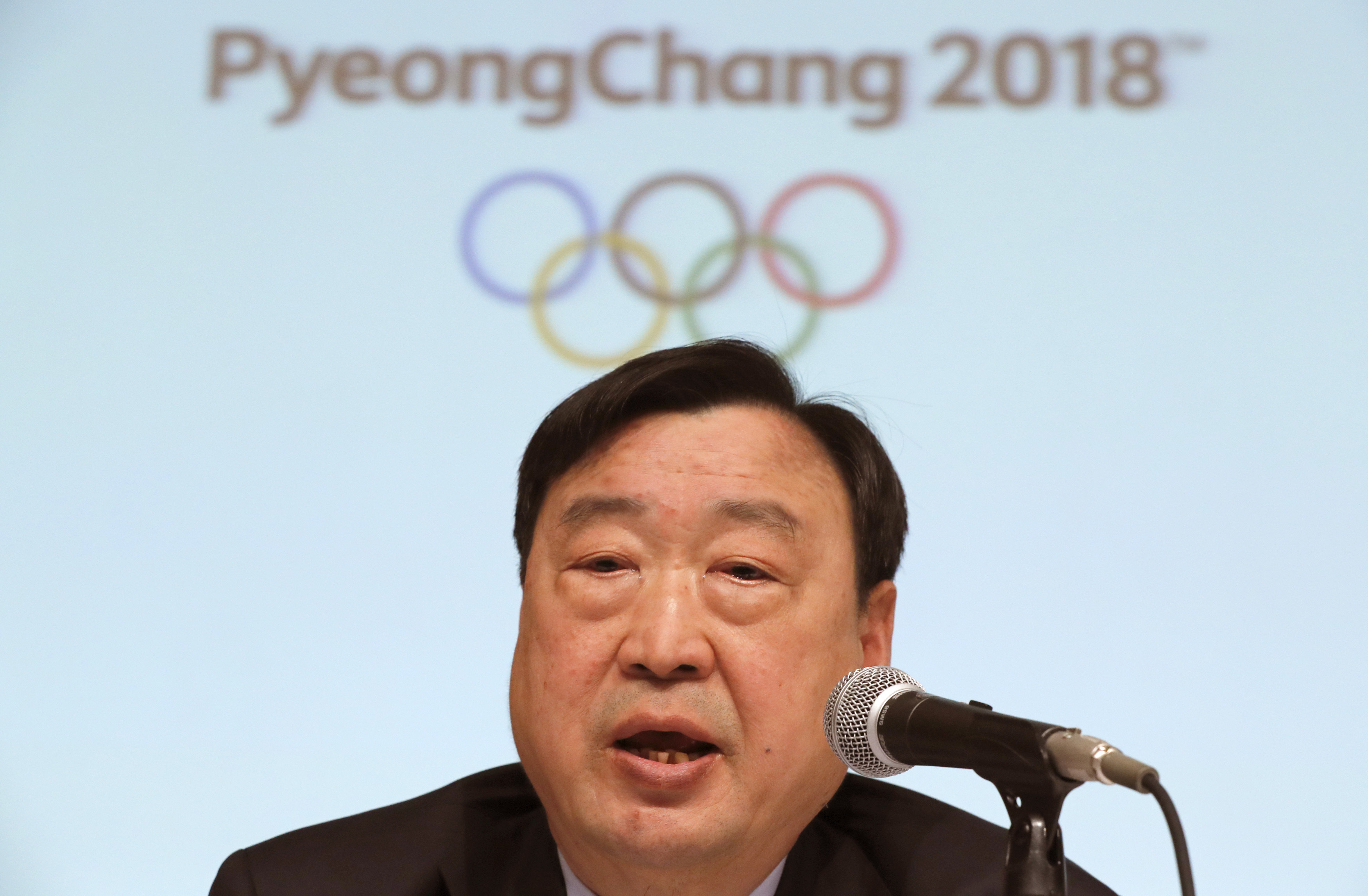 Lee Hee-beom, president and CEO of the Pyeongchang Organizing Committee for the Olympic and Paralympic Winter Games (POCOG), delivers speech during a media conference in Sapporo, northern Japan, Tuesday, Feb. 21, 2017. Lee  expects the 2018 Olympics to us