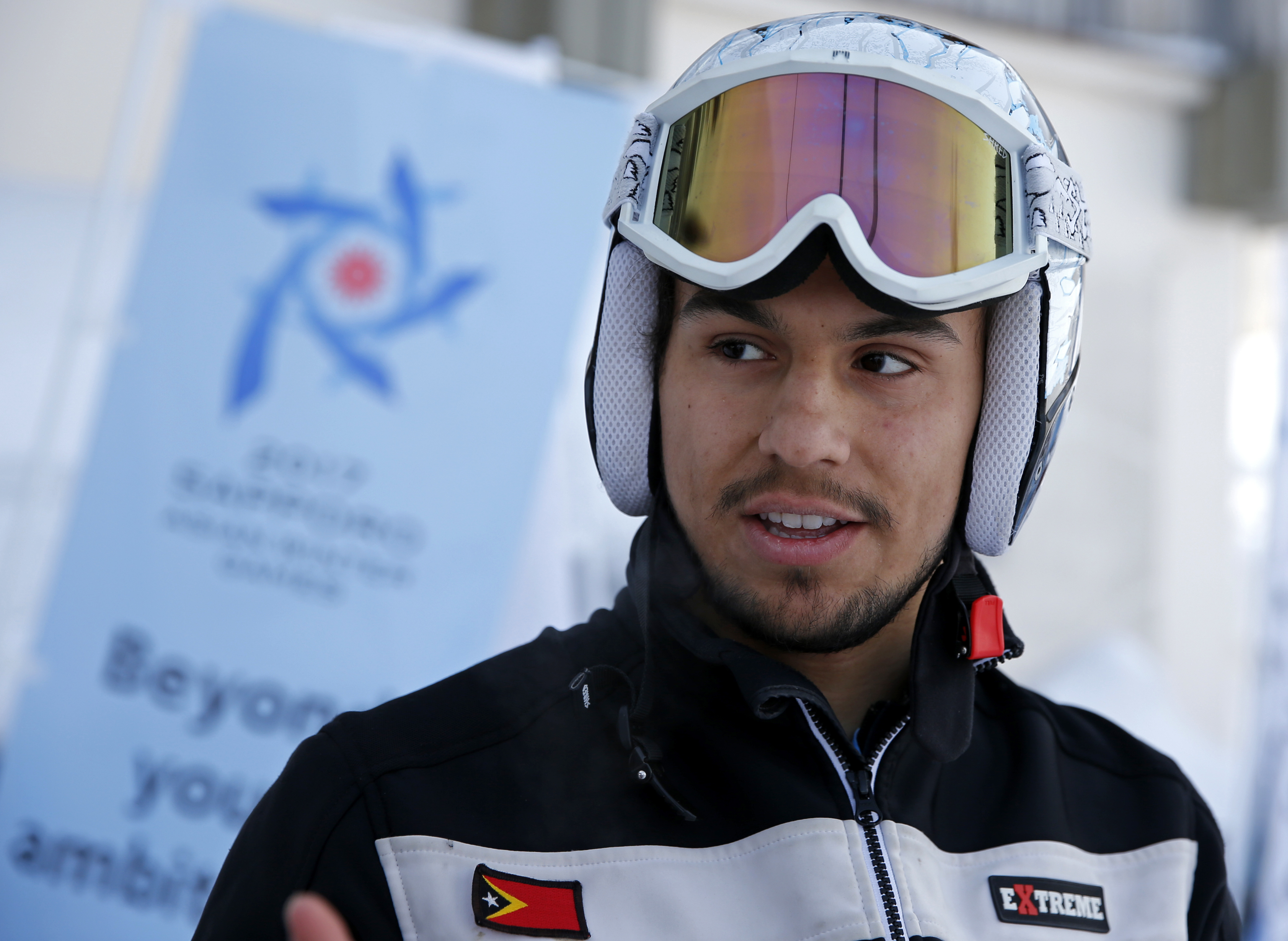 East Timor's Yohan Goutt Goncalves speaks during an interview, ahead of his alpine skiing men's giant slalom at the Asian Winter Games in Sapporo, northern Japan, Wednesday, Feb. 22, 2017. (AP Photo/Shuji Kajiyama)